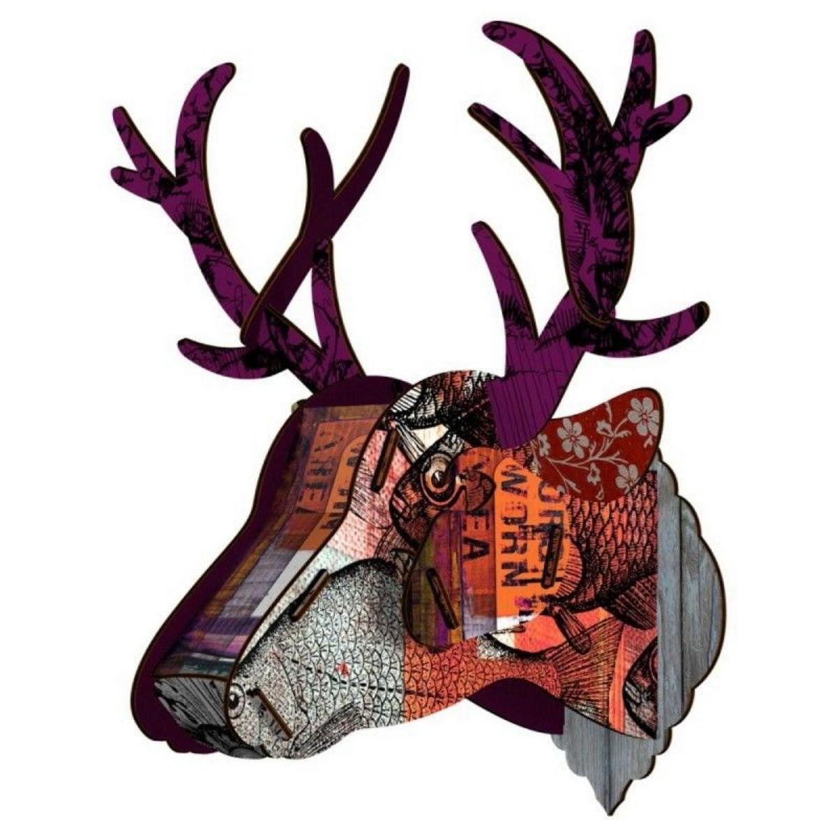 Tête de cerf trophée mural bois  Purple Branch