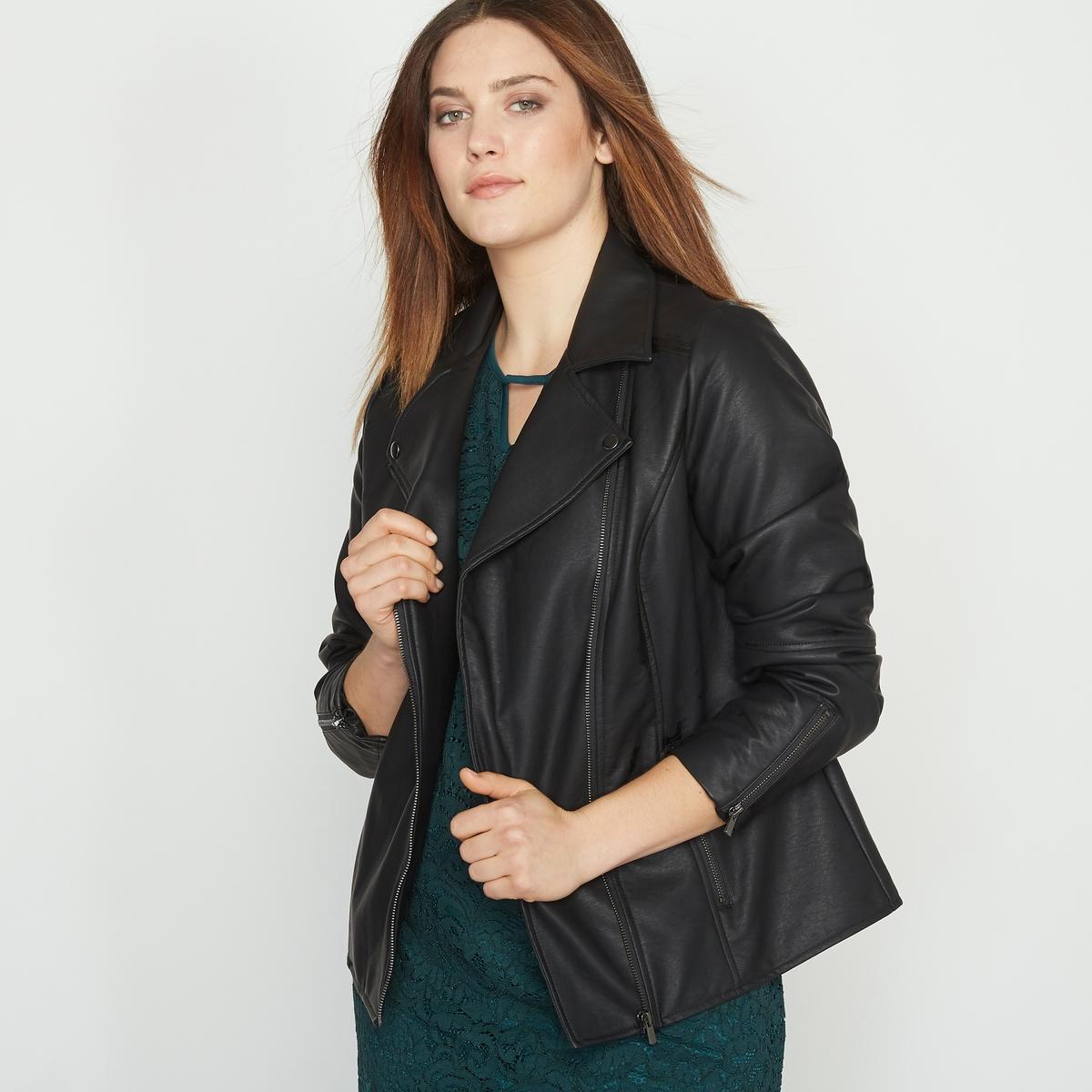 Куртка в стиле мотоциклетной, облегающий покройКуртка. Куртка в стиле мотоциклетной с разрезами, на молнии спереди. 2 кармана с застежкой на молнию. Низ рукавов с молниями. Имитация кожи из 100% вискозы, подкладка из 100% полиэстера. Длина 58 см.<br><br>Цвет: сливовый,черный