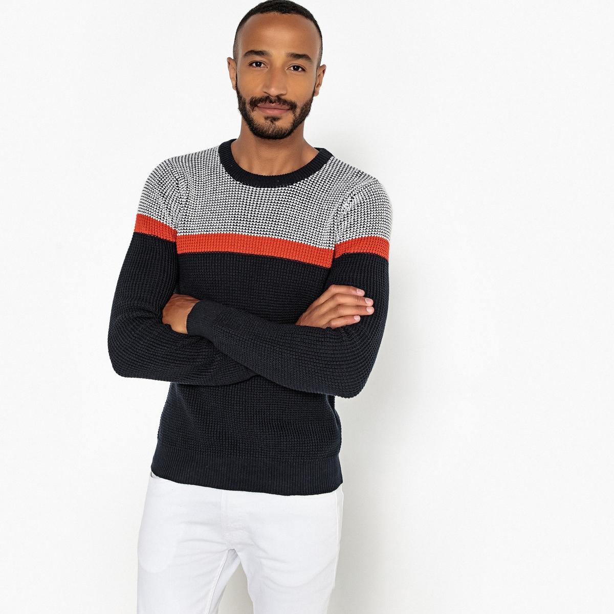 Пуловер с круглым вырезом из плотного трикотажа пуловер из плотного трикотажа с v образным вырезом