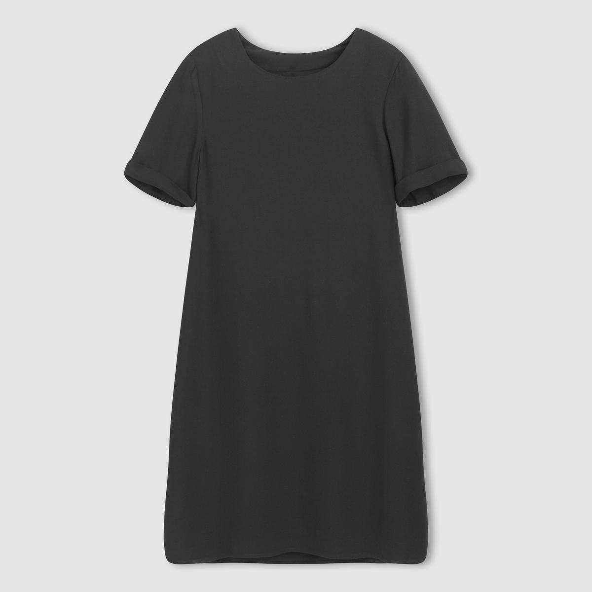 Платье с короткими рукавамиПлатье-футляр. 100% вискозы. Подкладка из 100% полиэстера. Короткие рукава. Закругленный вырез. Длина ок.95 см.<br><br>Цвет: фиолетовый,черный<br>Размер: 34 (FR) - 40 (RUS).36 (FR) - 42 (RUS)
