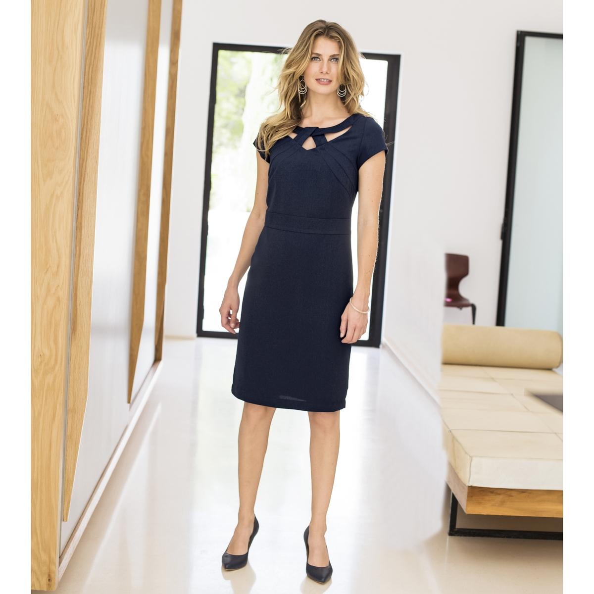 Imagen secundaria de producto de Vestido recto de sarga stretch y manga corta - Anne weyburn