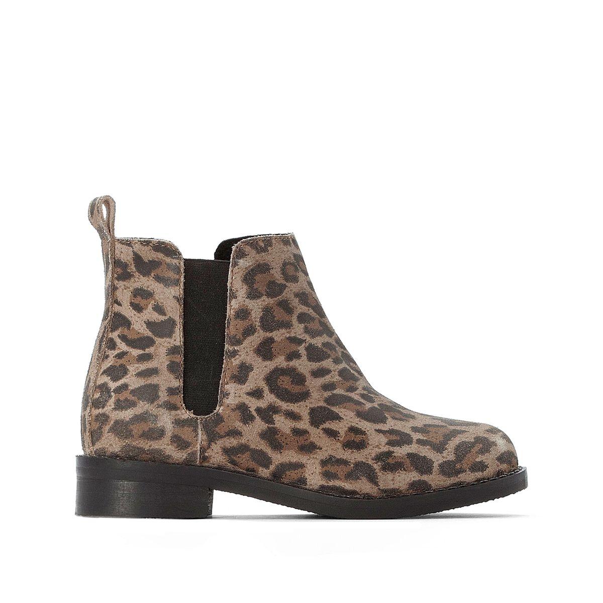 Boots cuir imprimé léopard 26-39