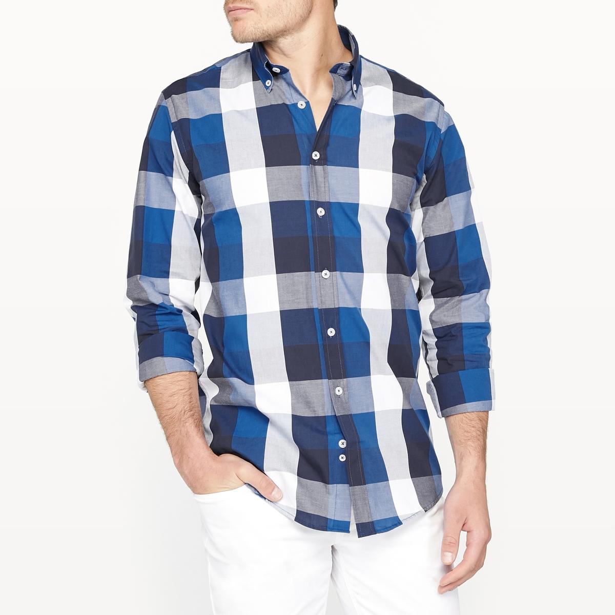 Рубашка прямого покроя в клетку 100% хлопок