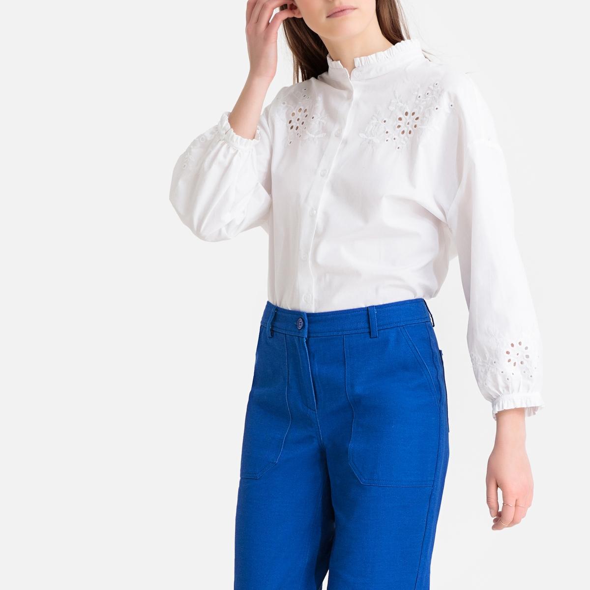Ruffled Floral Openwork Cotton Poplin Shirt