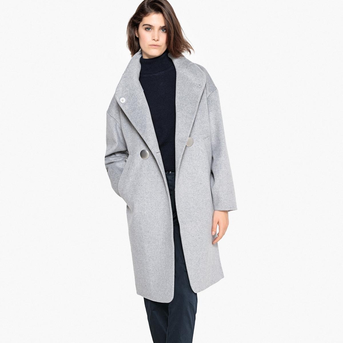 Abrigo largo con cuello alto de lana mezclada