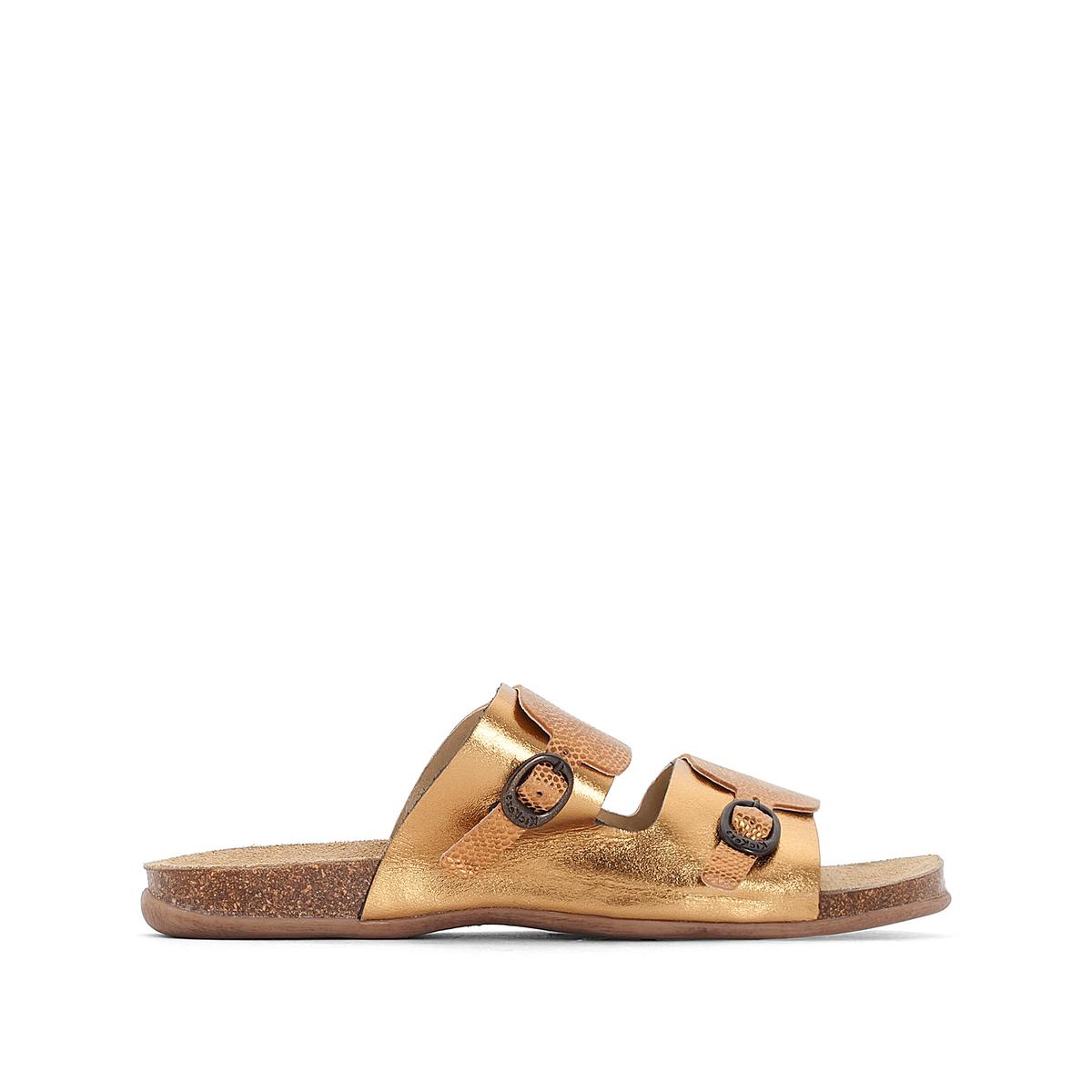 Туфли кожаные ANABIОписание:Детали •  Туфли без задника •  Высота каблука: 2 см •  Застежка: без застежки •  Круглый мысокСостав и уход •  Верх 100 % яловичная кожа •  Стелька 100 % спилок •  Подошва 100 % синтетический материал<br><br>Цвет: бронзовый,серебристый