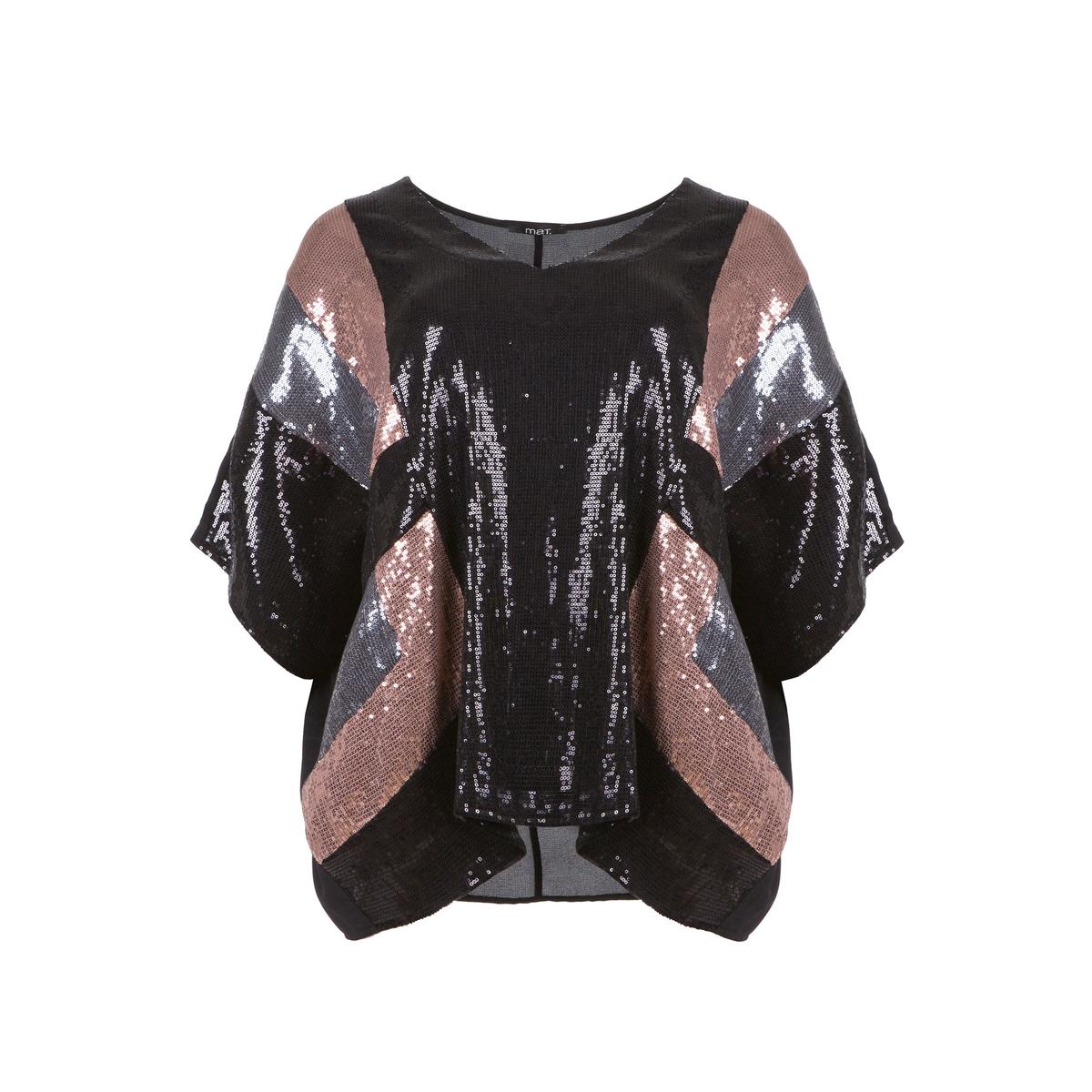ПуловерСпереди геометрический рисунок из блесток трех цветов. Рукава летучая мышь. V-образный вырез. Спинка из легкого материала черного цвета.<br><br>Цвет: разноцветный<br>Размер: 50/54