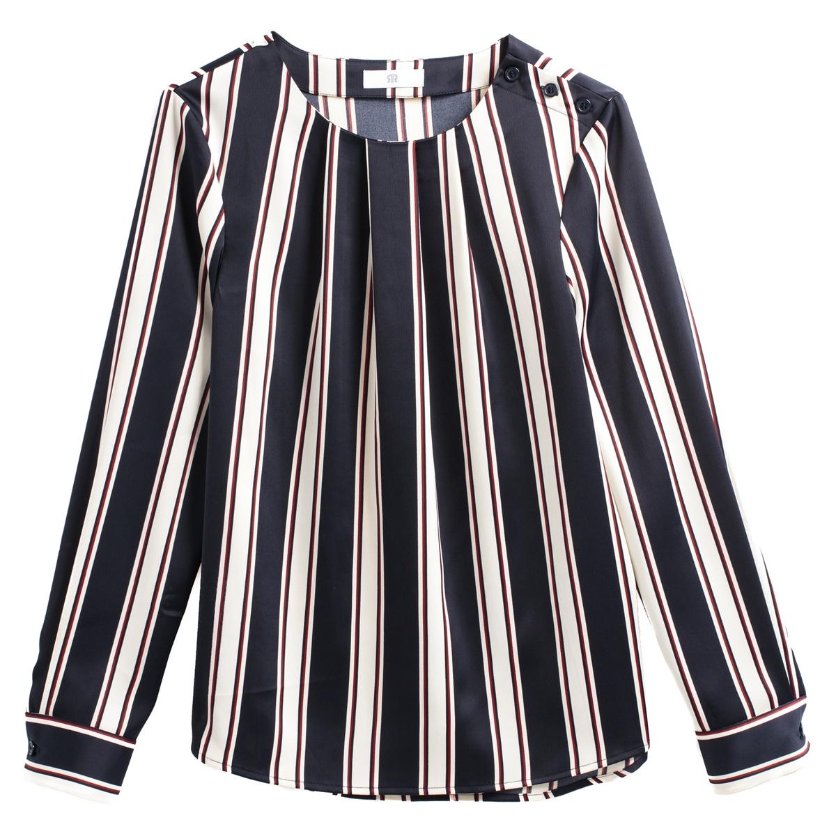 Blusa a rayas gráficas de manga larga y cuello redondo