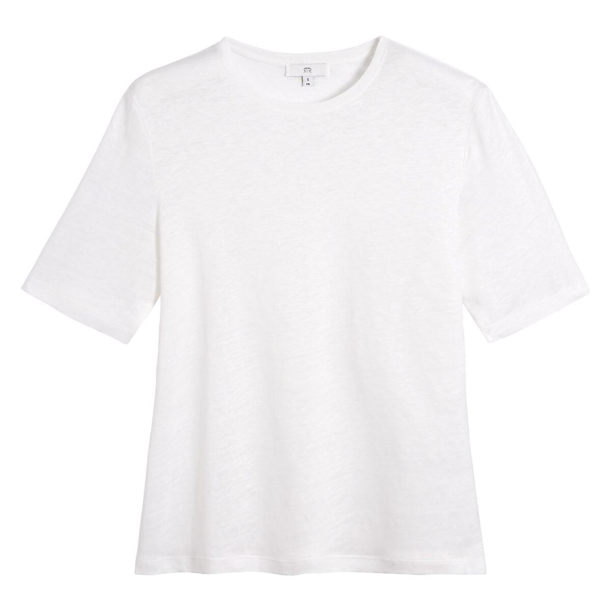 T-shirt en lin col rond manches courtes