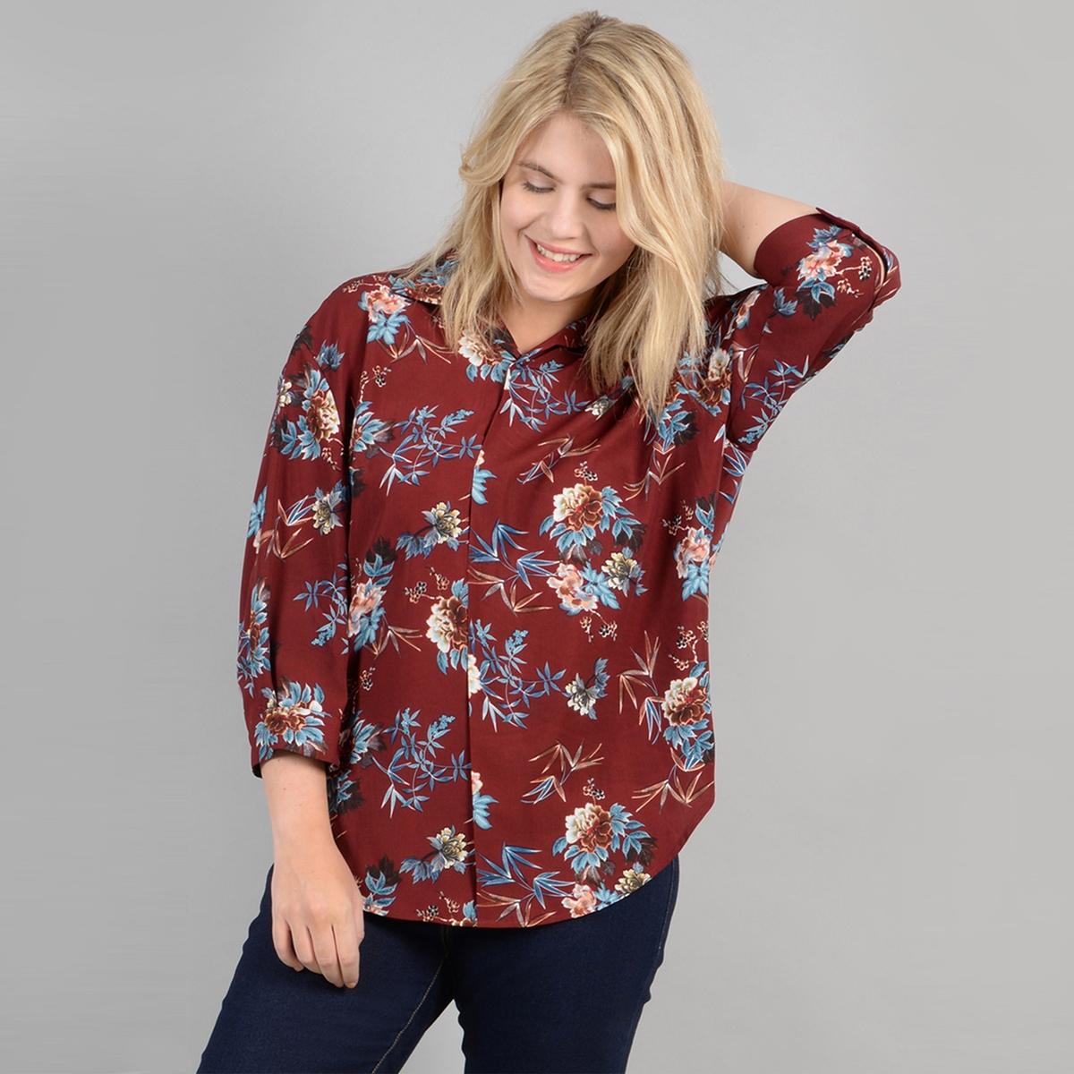 Рубашка La Redoute С цветочным принтом рукава 48 (FR) - 54 (RUS) красный платье миди la redoute с запахом с цветочным принтом 54 fr 60 rus другие