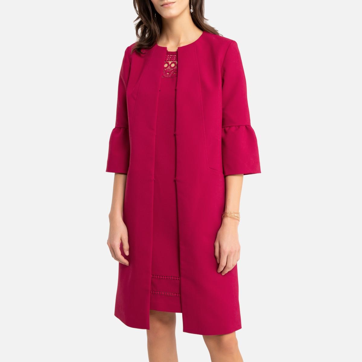 цена Пальто La Redoute Из гипюра 52 (FR) - 58 (RUS) розовый онлайн в 2017 году