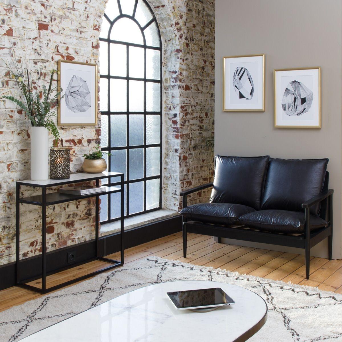 Sofa noir lounge bois et cuir 2 places    UB10