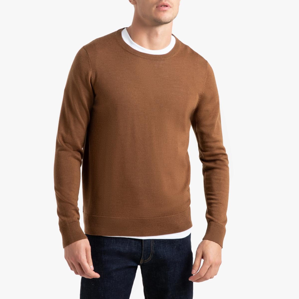 цена на Пуловер La Redoute С круглым вырезом из шерсти мериноса Pascal S каштановый