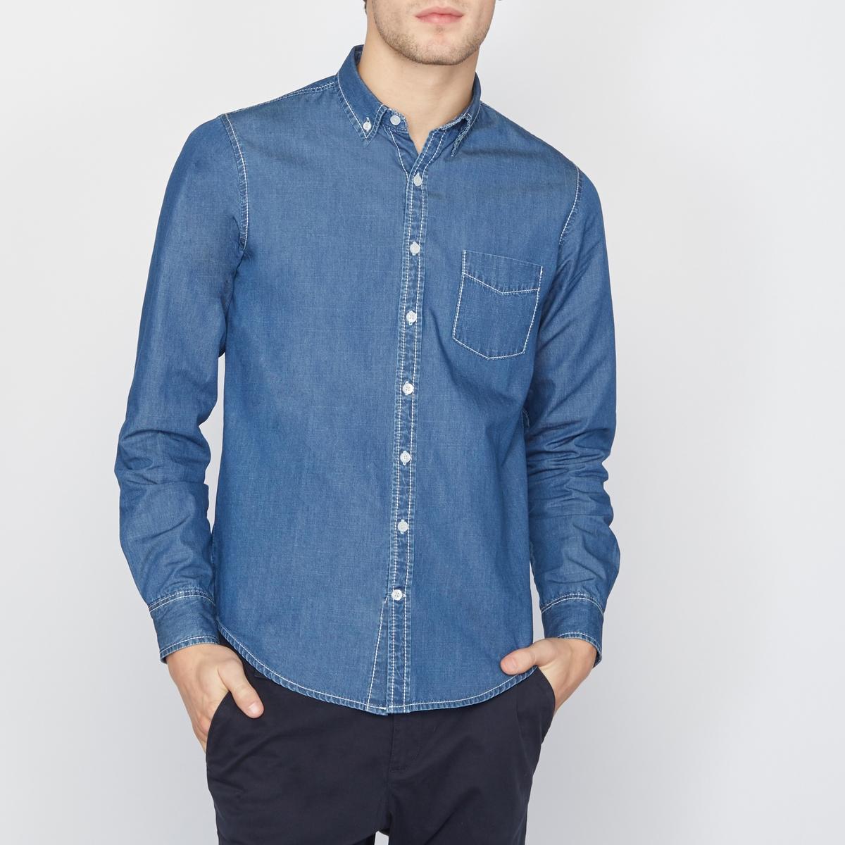 РубашкаРубашка в стиле кэжуал из денима, классического (прямого) покроя, с 5 карманами и воротником со свободными уголками. Нагрудный карман . Планка застежки на пуговицы .Рубашка из денима, 100% хлопка.<br><br>Цвет: синий потертый<br>Размер: 37/38