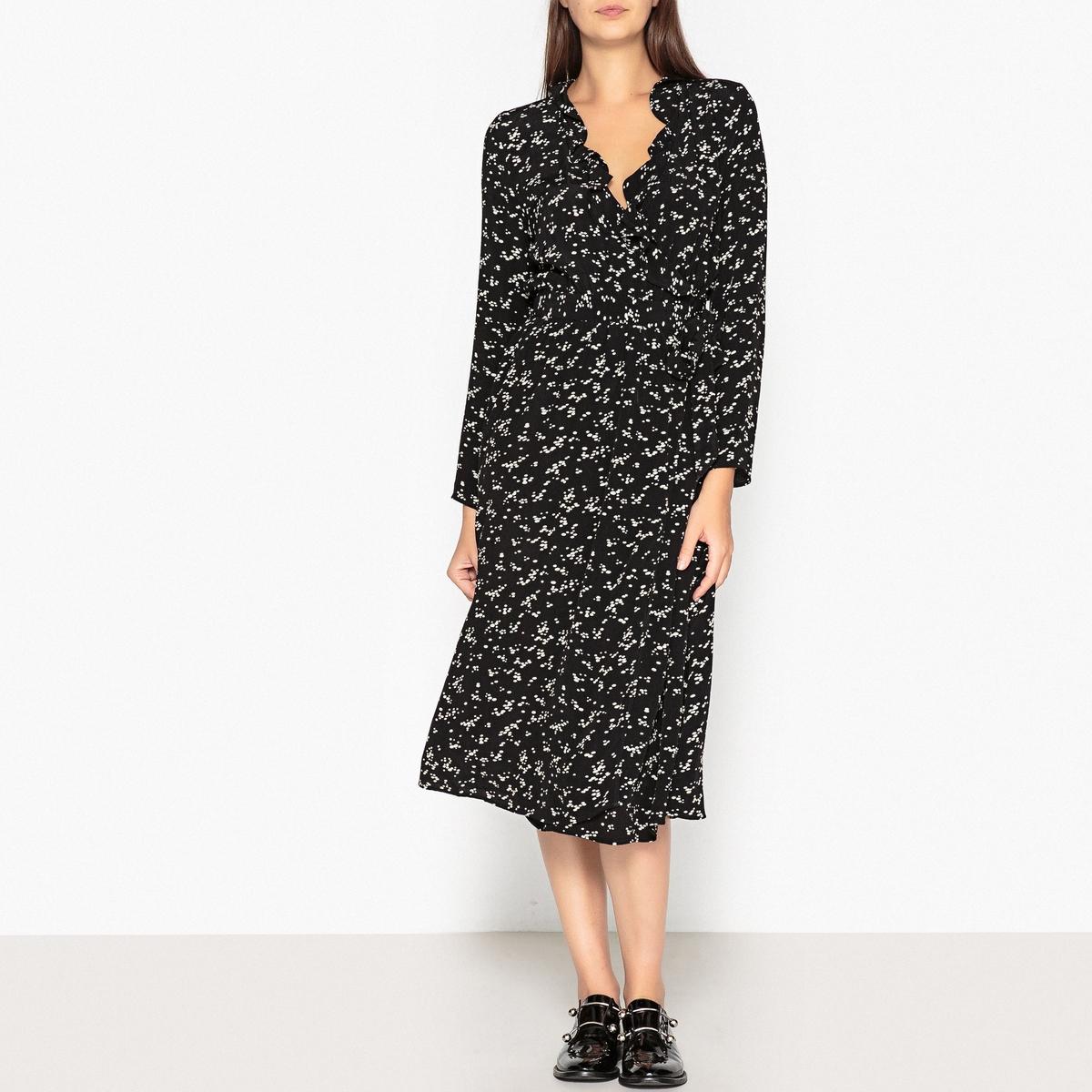Платье La Redoute С запахом в горошек длинное LAURIA POIS XS черный
