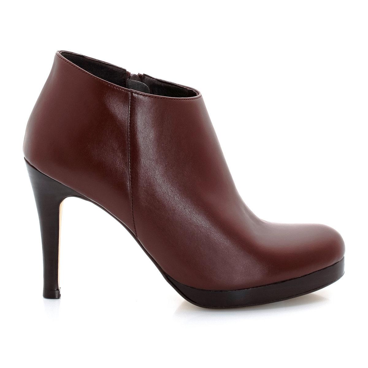 Ботинки низкие на высоких каблуках, с застежками на молниюНизкие ботинки на каблуках - JONAK. Верх :  синтетический материалПодкладка : кожа Стелька : кожа Подошва : эластомер.Застежка   : молнии сбокуВысота каблука : 9 см.  Эти низкие ботинки на высоком каблуке под маркой Jonak сделают ваш силуэт женственным и ультра модным!<br><br>Цвет: каштановый,черный<br>Размер: 39.38.40