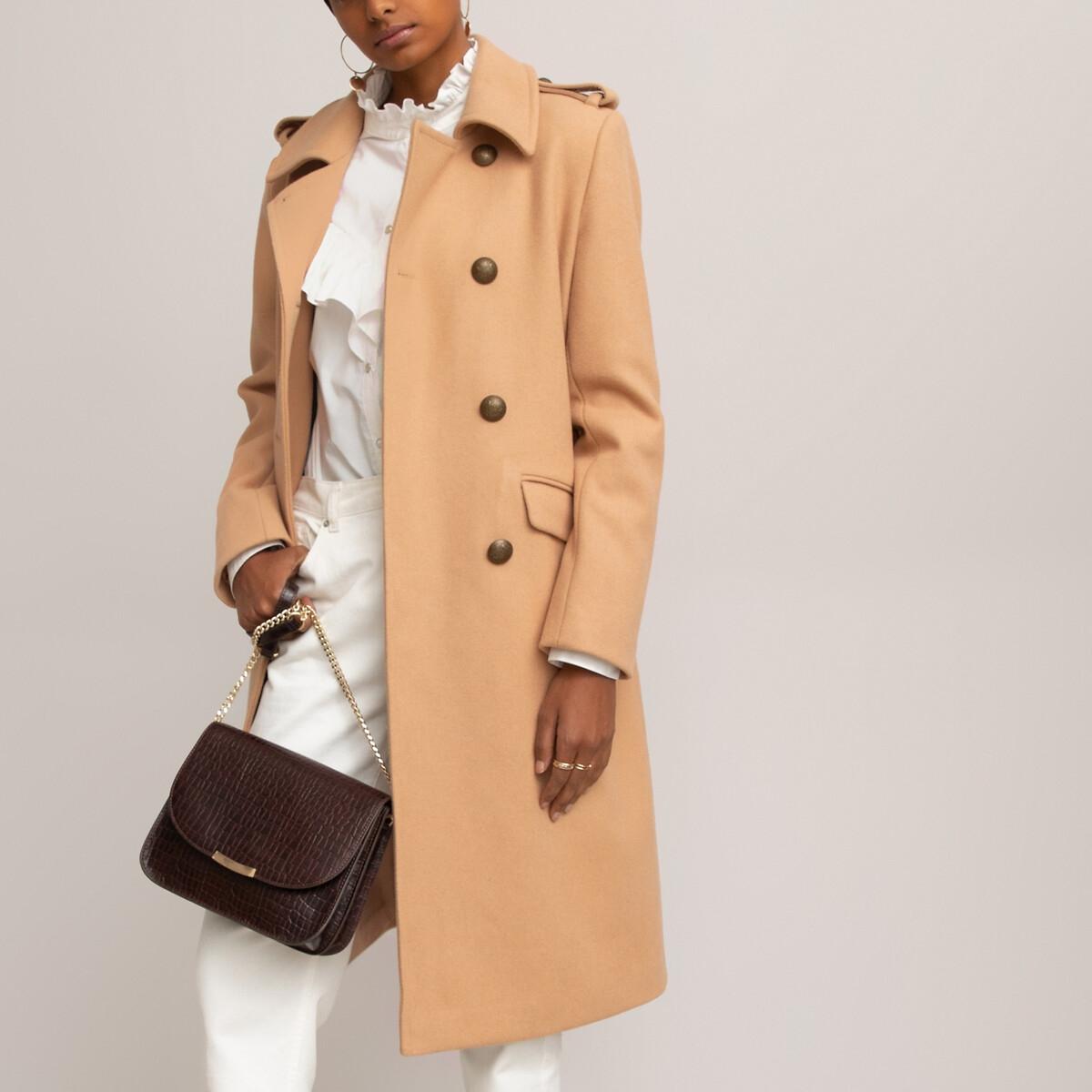 Manteau style militaire drap de laine mélangée