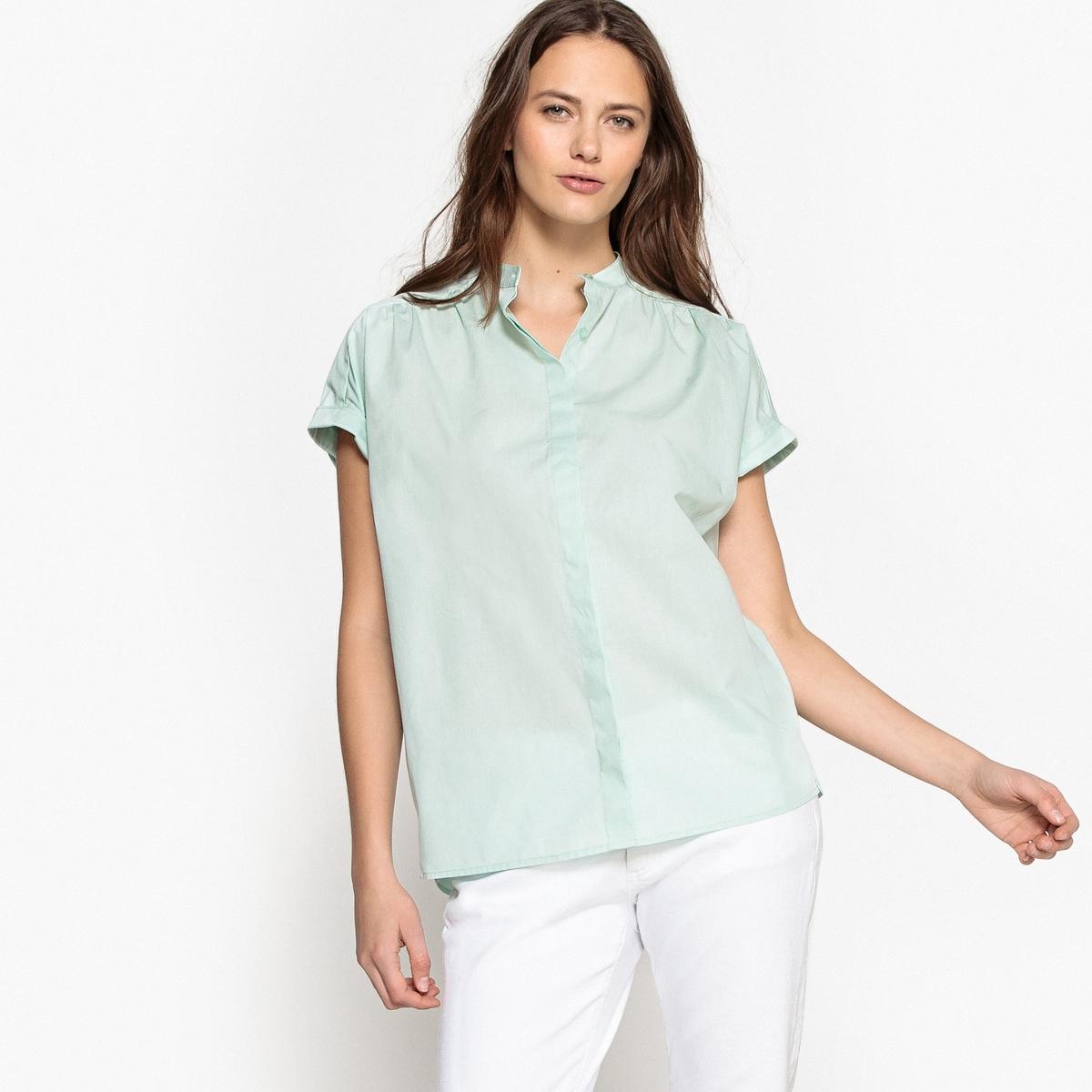 Camisa de corte direito, mangas curtas, puro algodão