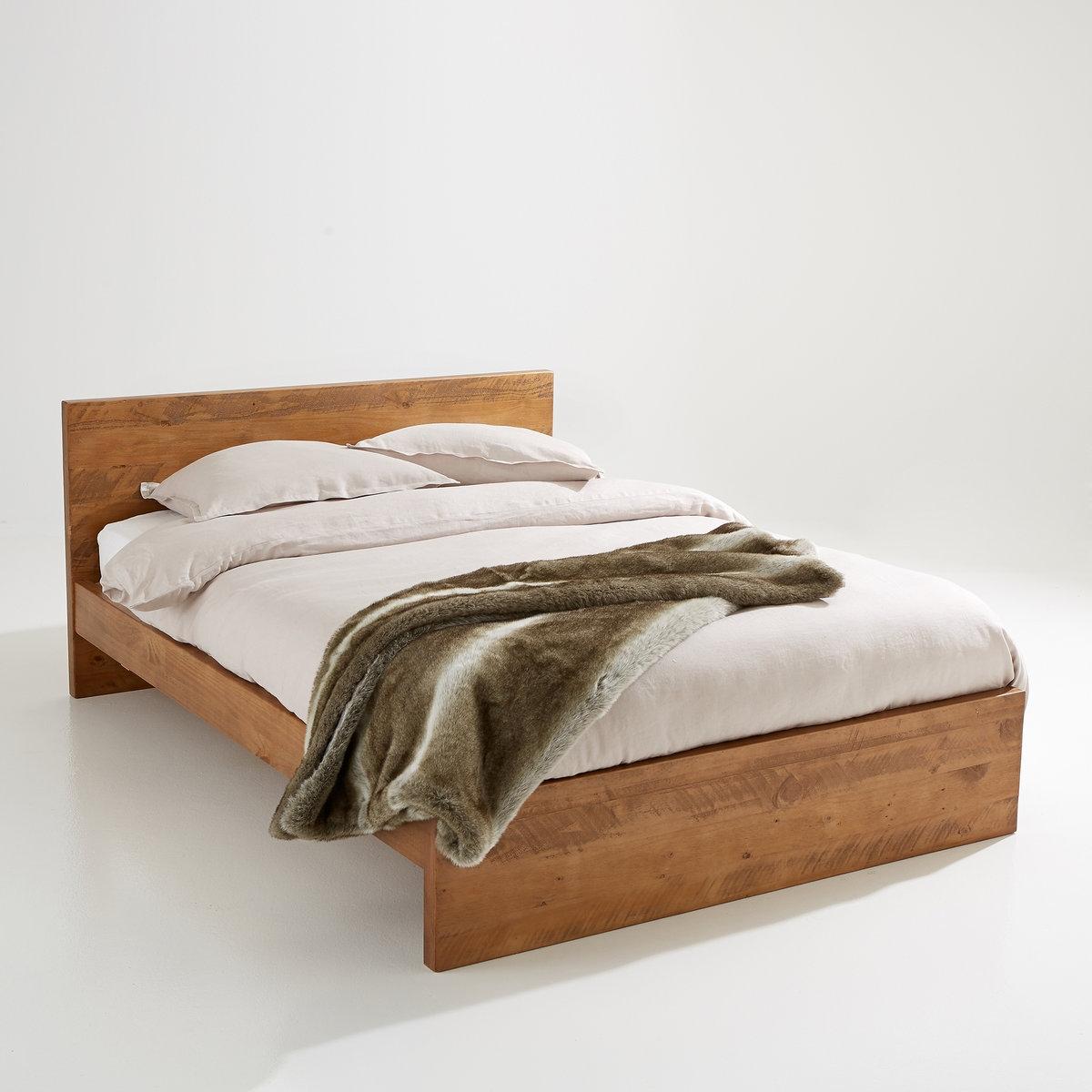 Кровать LaRedoute Из массива сосны Lunja 160 x 200 см бежевый