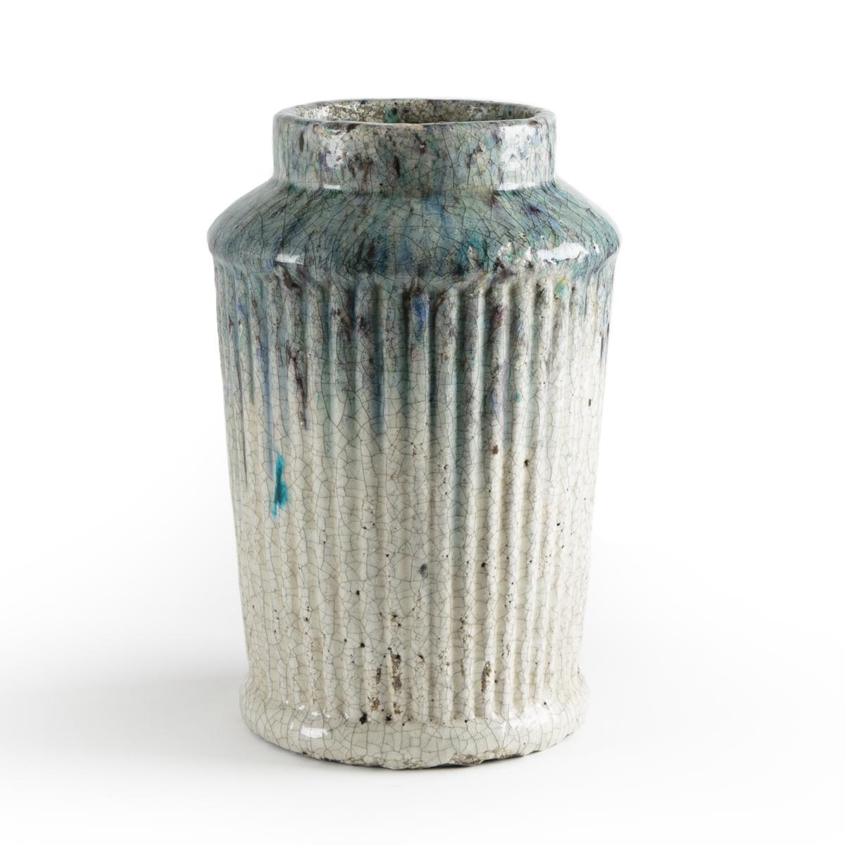 Кашпо La Redoute Из керамики с покрытием эмалью В см Rupani единый размер синий этажерка la redoute с полками remia единый размер белый