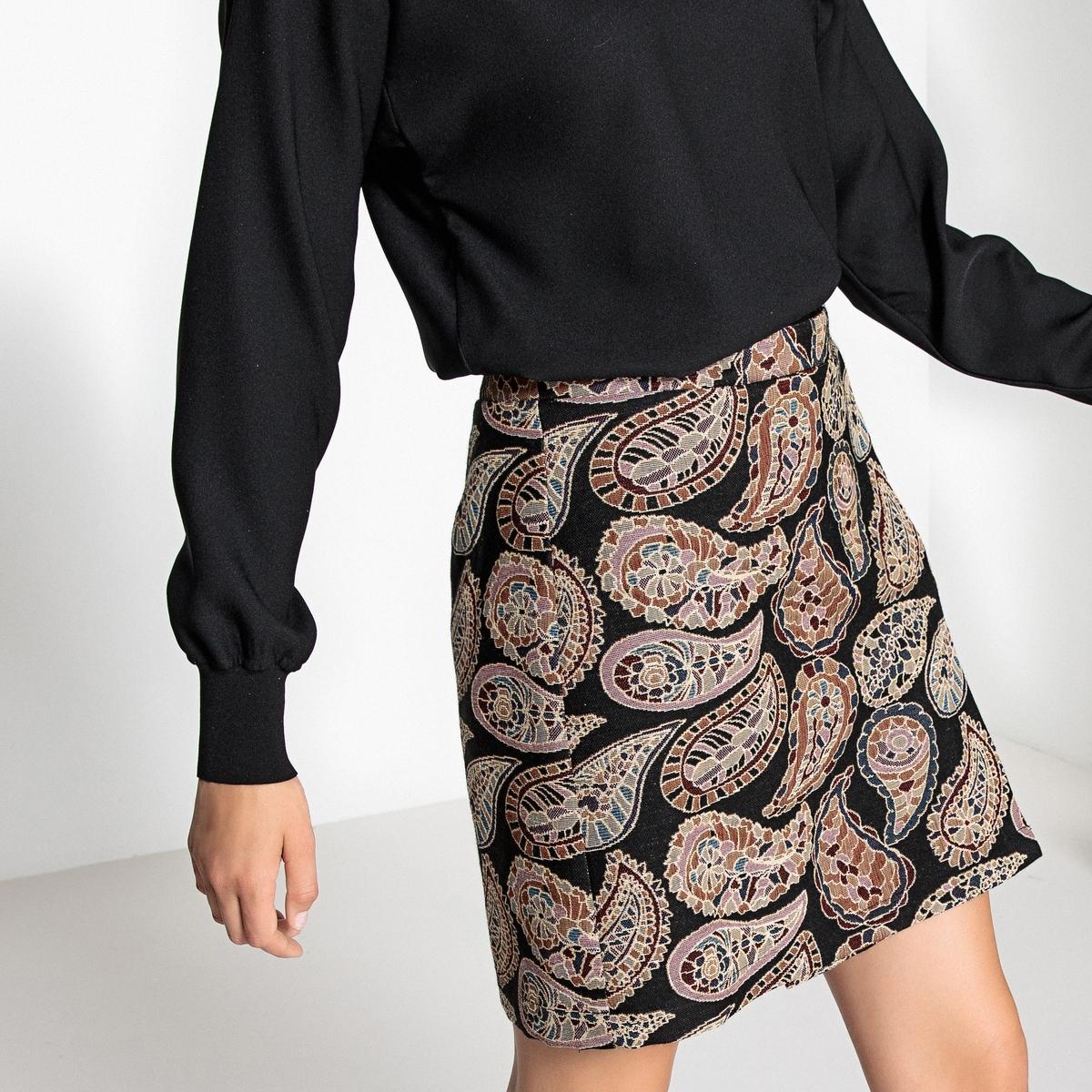 Юбка с запахом из жаккардовой ткани ostin юбка из жаккардовой ткани