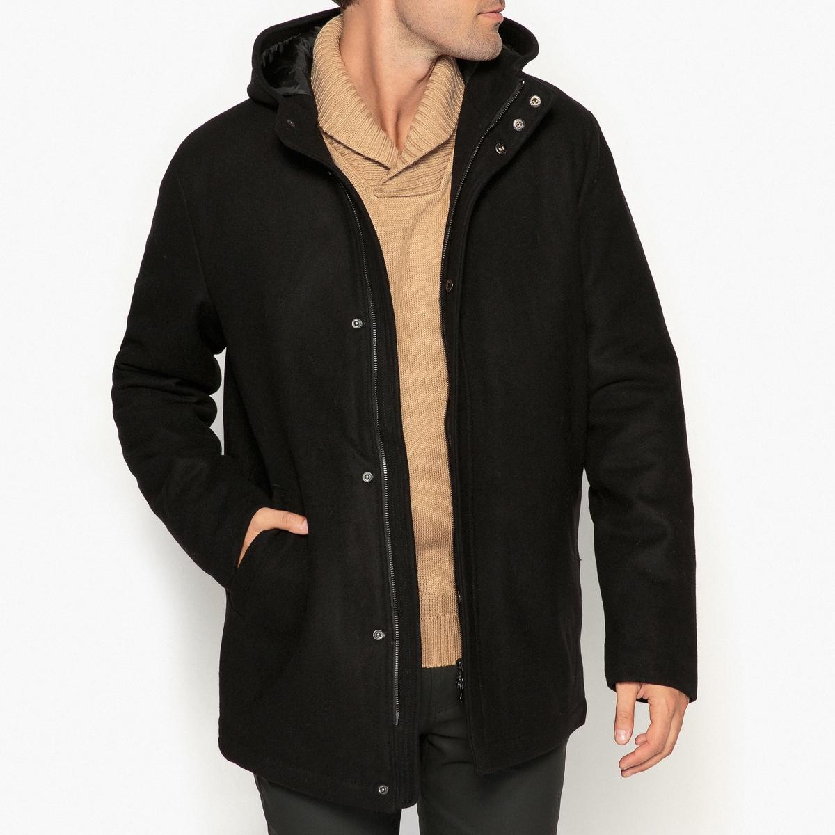 Пальто на молнии с капюшоном из шерстяного драпа пальто шинель из шерстяного драпа