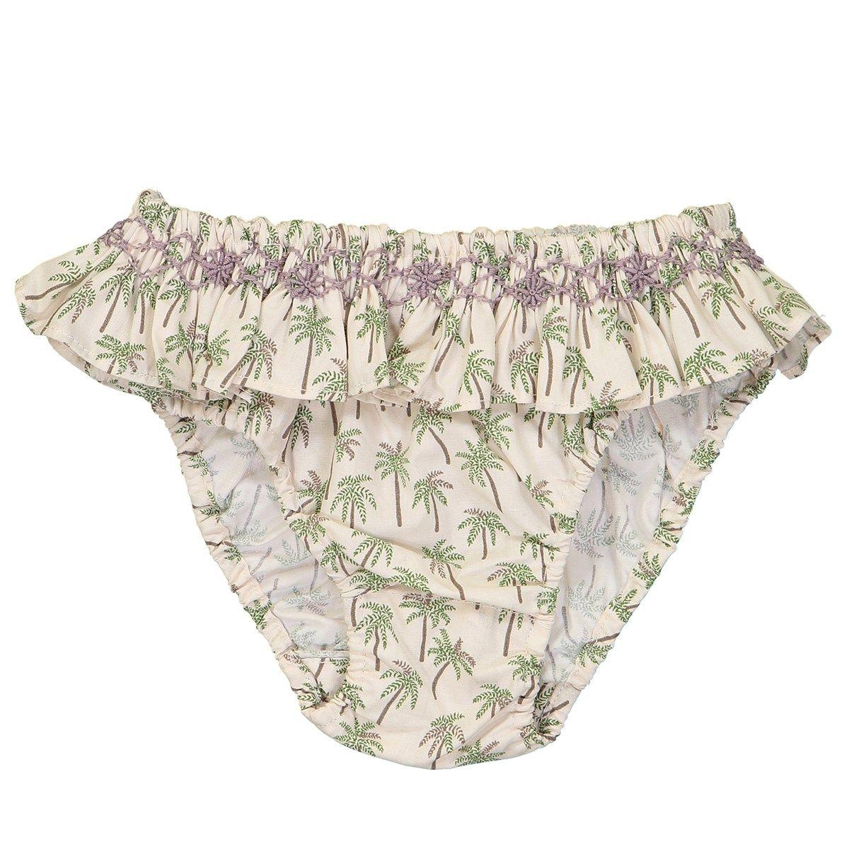 Maillot de bain volant en coton - motif palmier