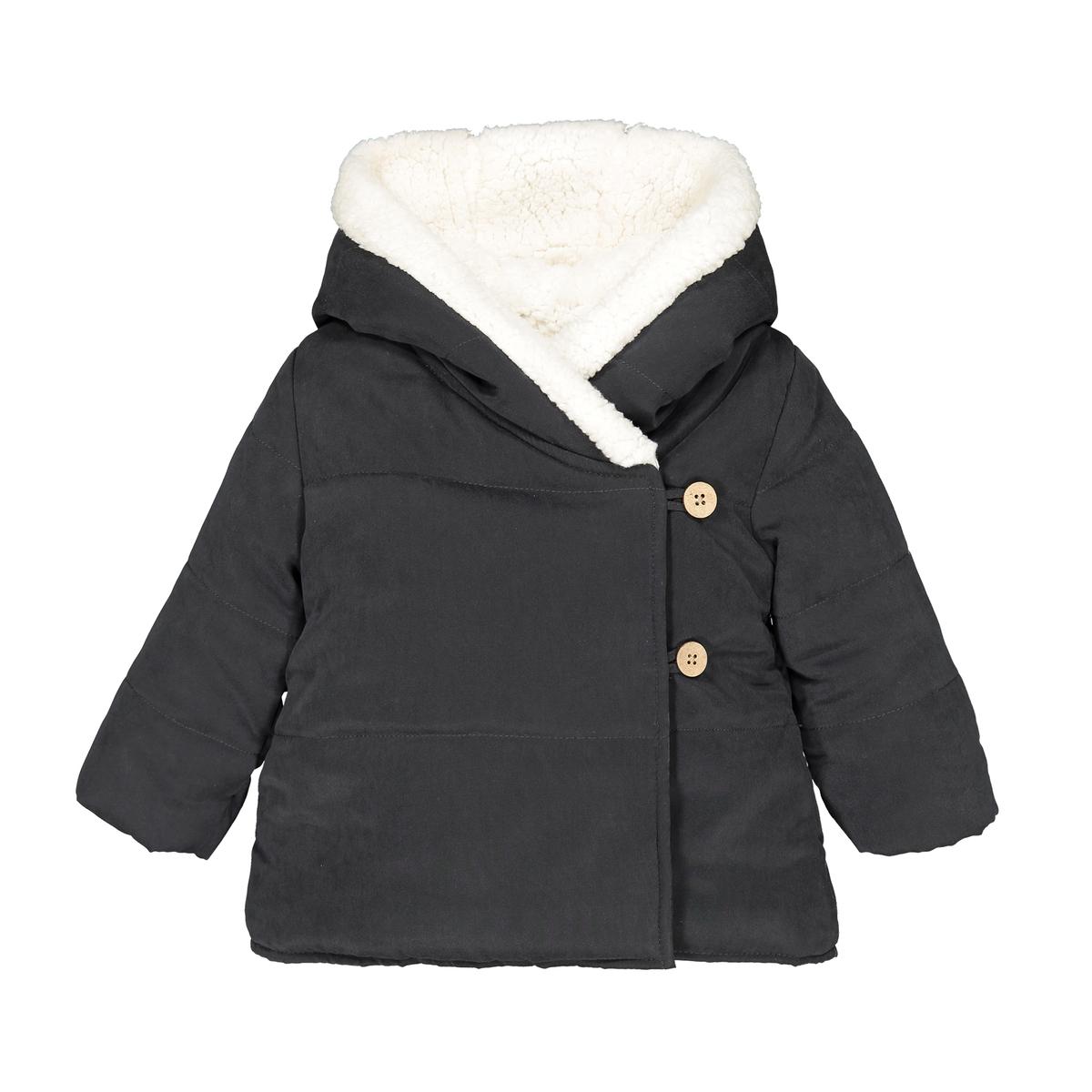 Утепленная La Redoute Куртка с капюшоном мес- года 18 мес. - 81 см серый шорты la redoute из велюра мес года 18 мес 81 см розовый