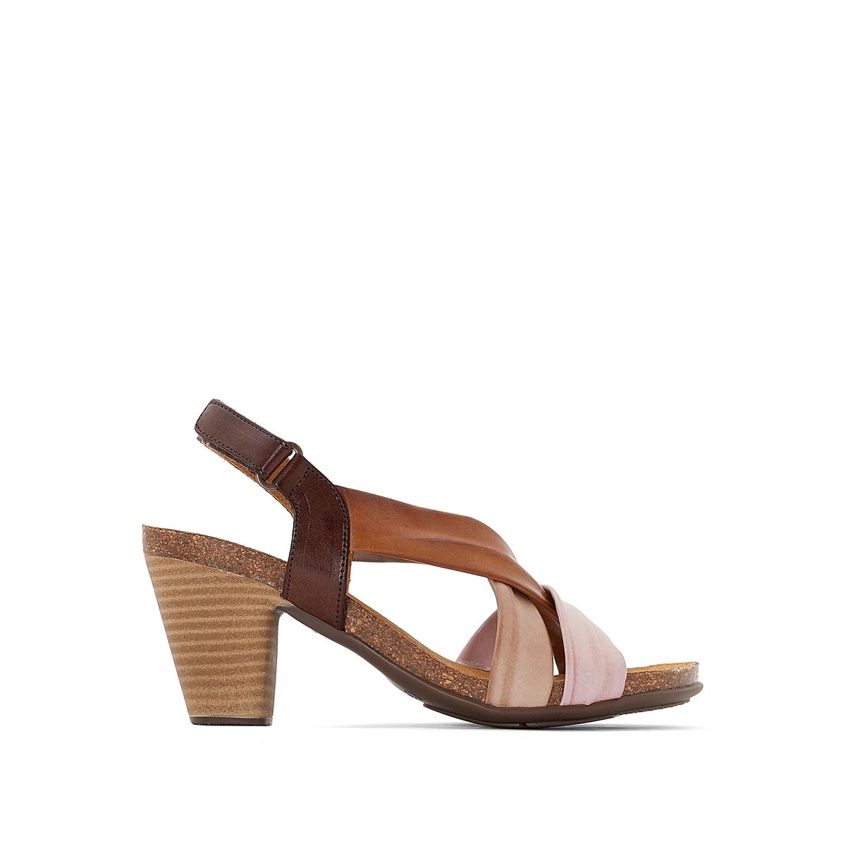 Босоножки кожаные LizВерх : кожа   Стелька : кожа   Подошва : эластомер   Высота каблука : 8 см   Форма каблука : квадратный каблук   Мысок : открытый мысок   Застежка : пряжка<br><br>Цвет: каштановый<br>Размер: 38