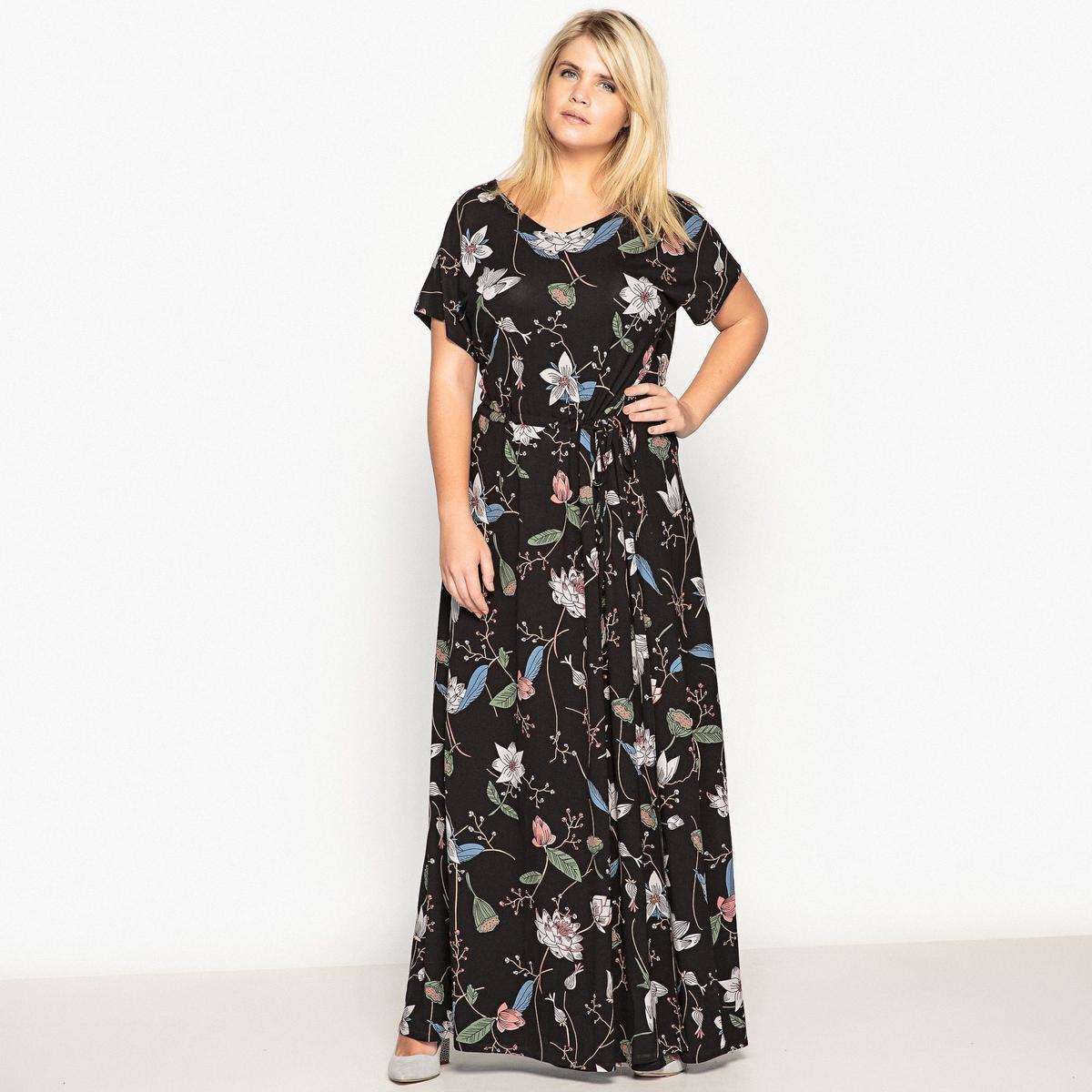 Платье прямое длинное с короткими рукавамиОчень современное длинное платье с цветочным принтом из трикотажа . Это длинное женственное платье с цветочным принтом можно надеть на любой случай .Детали •  Форма : прямая •  Длина ниже колен •  Короткие рукава    •   V-образный вырез •  Рисунок-принт •  Регулируемый пояс Состав и уход •  95% вискозы, 5% эластана •  Температура стирки при 30° на деликатном режиме   •  Сухая чистка и отбеливание запрещены •  Не использовать барабанную сушку •  Низкая температура глажкиТовар из коллекции больших размеров •  Модный цветочный рисунок •  Очень длинное •  Завязки на поясе  •  длина 140 см<br><br>Цвет: цветочный рисунок<br>Размер: 56 (FR) - 62 (RUS).46 (FR) - 52 (RUS)