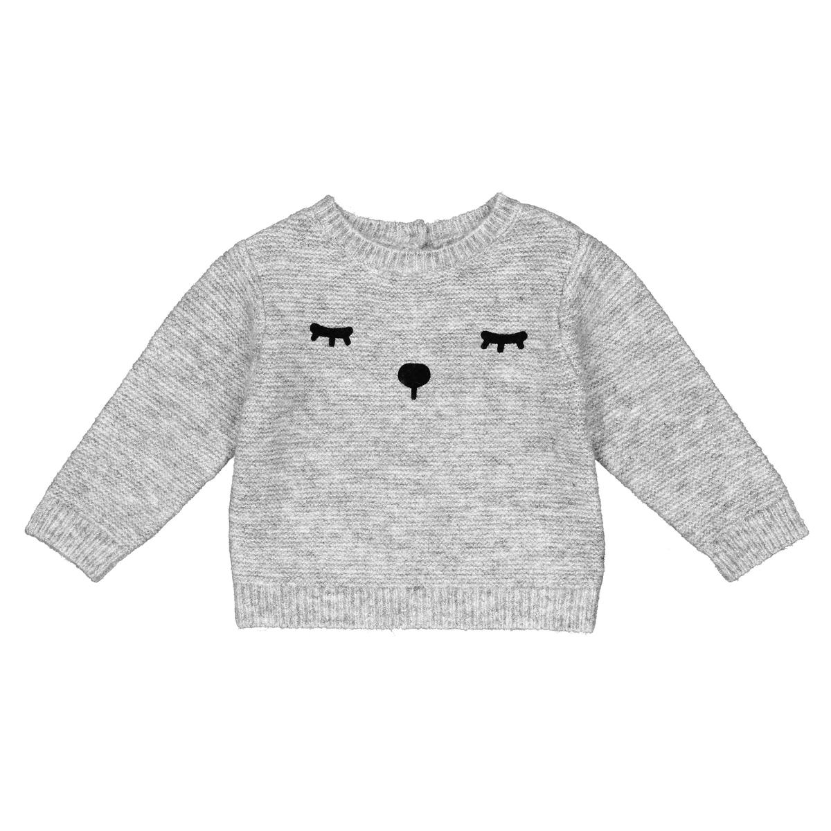 Пуловер La Redoute С круглым вырезом из трикотажа с принтом мес 3 года - 94 см серый футболка la redoute с круглым вырезом и принтом спереди 3 года 94 см серый