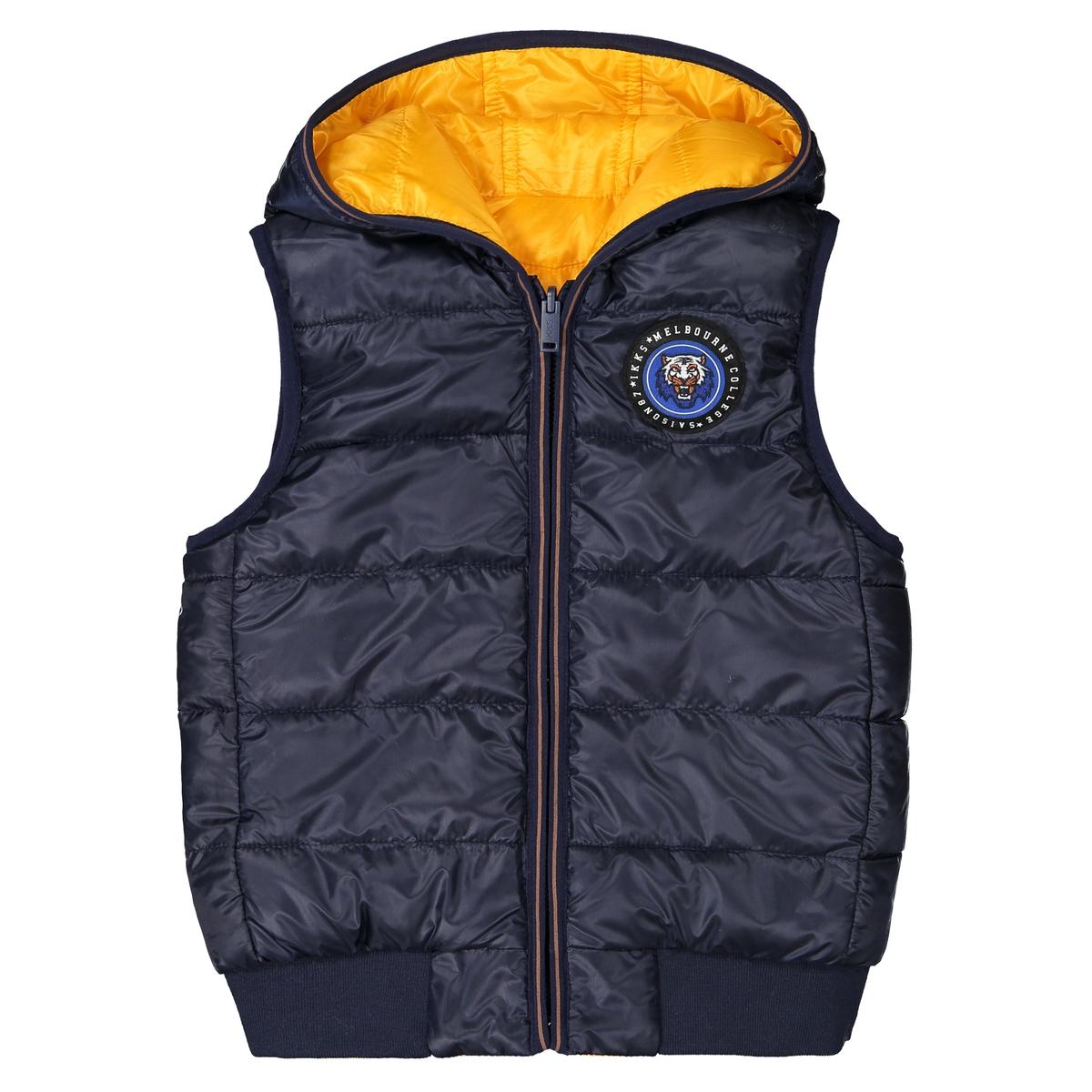 Куртка стеганая с капюшоном без рукавов, 4-14 лет