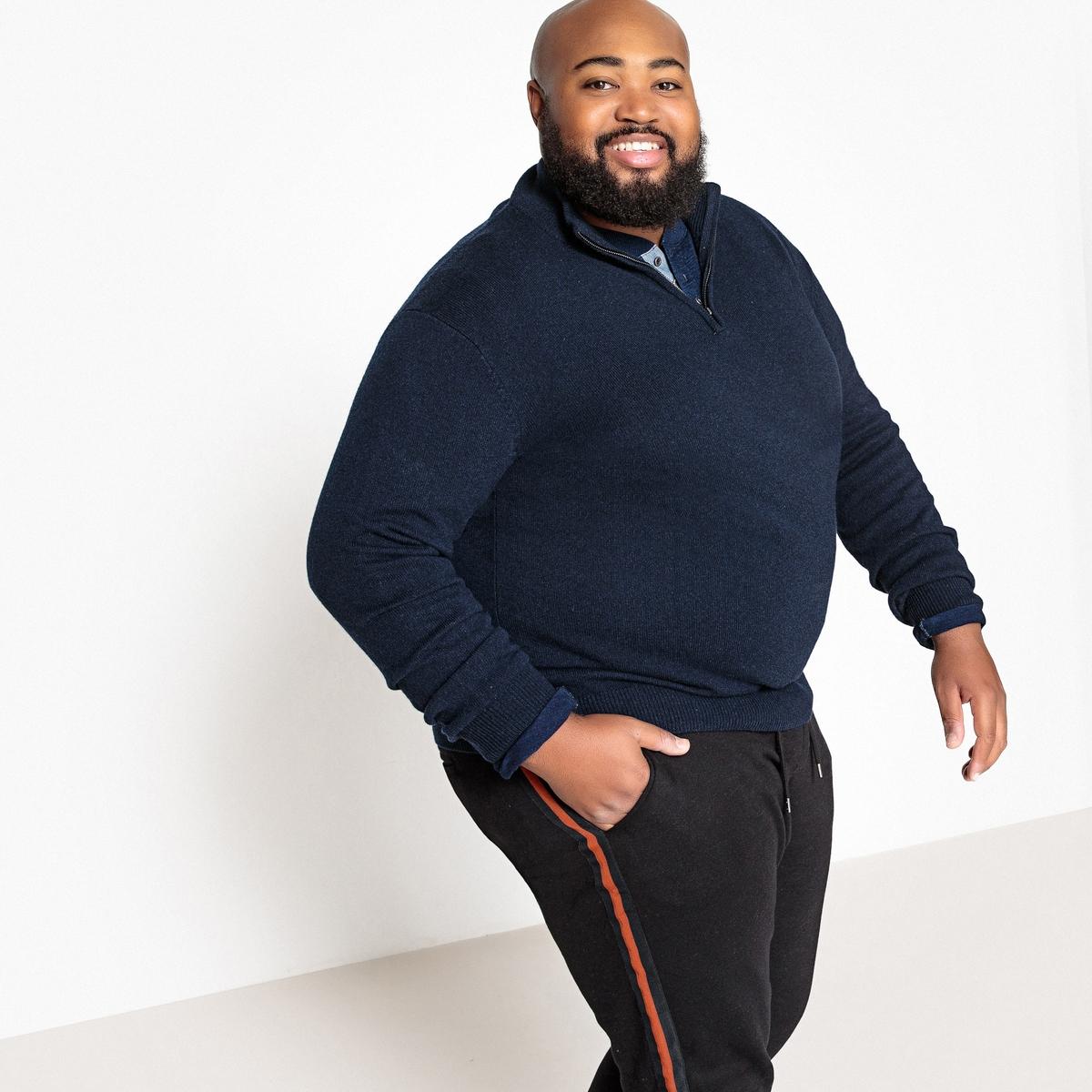 Пуловер La Redoute Из коллекции больших размеров с воротником-стойкой из тонкого трикотажа 3XL синий