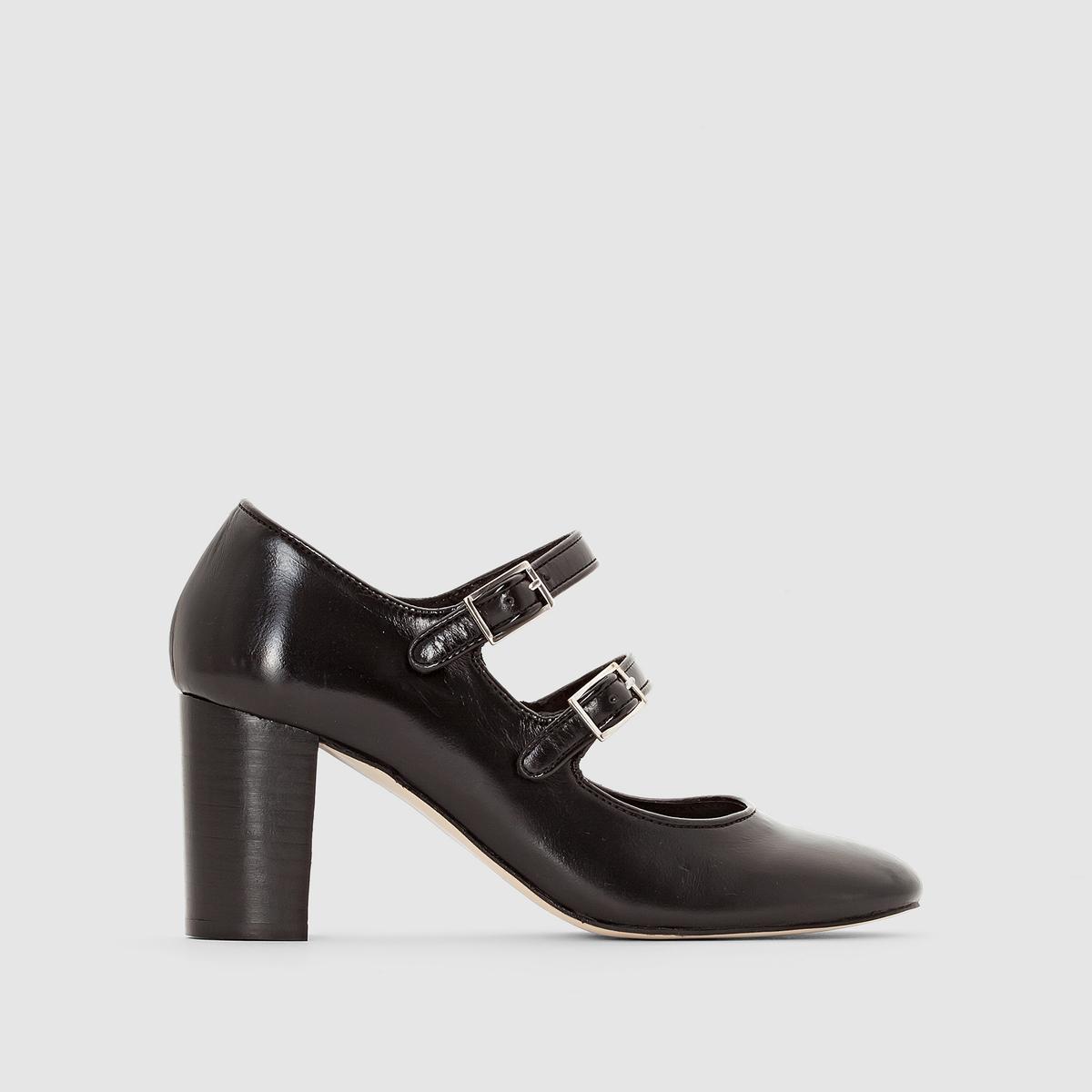 Sapatos em pele e envernizados com tacão e fivelas Antioch