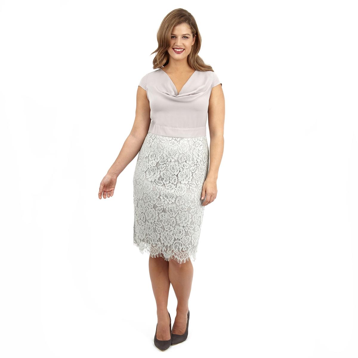 ПлатьеПлатье без рукавов LOVEDROBE. Красивый V-образный вырез. Отделка низа кружевом. 100% полиэстер.<br><br>Цвет: серый<br>Размер: 48 (FR) - 54 (RUS)