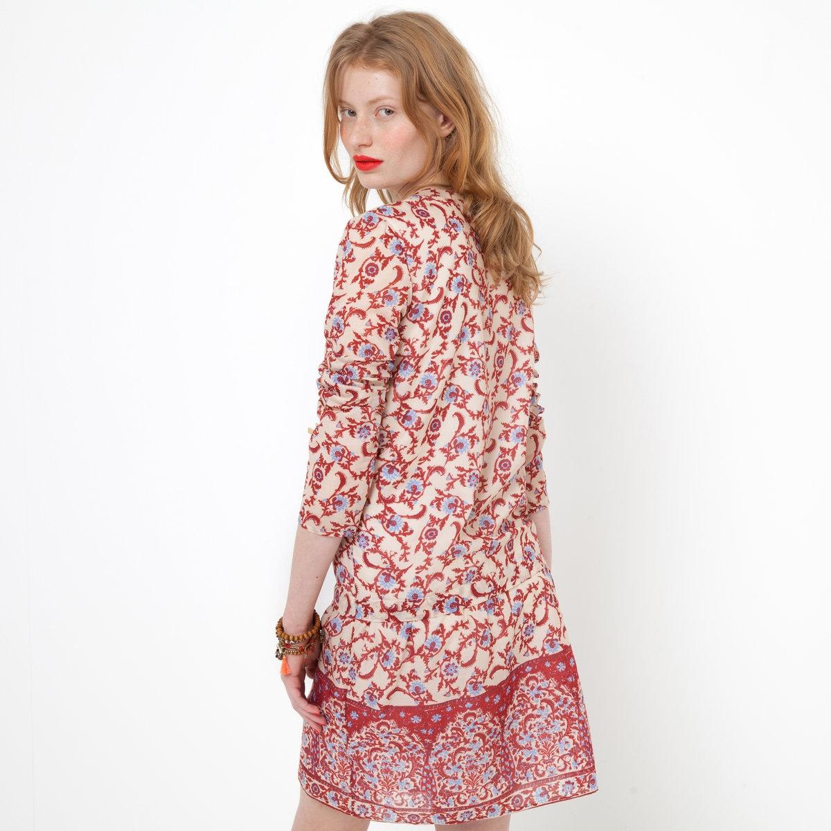 Платье с длинными рукавамиПлатье. Ткань с рисунком, 100% хлопка. Вырез с застежкой на пуговицы. Завязки спереди. Длина 92 см.<br><br>Цвет: набивной рисунок<br>Размер: 34 (FR) - 40 (RUS)