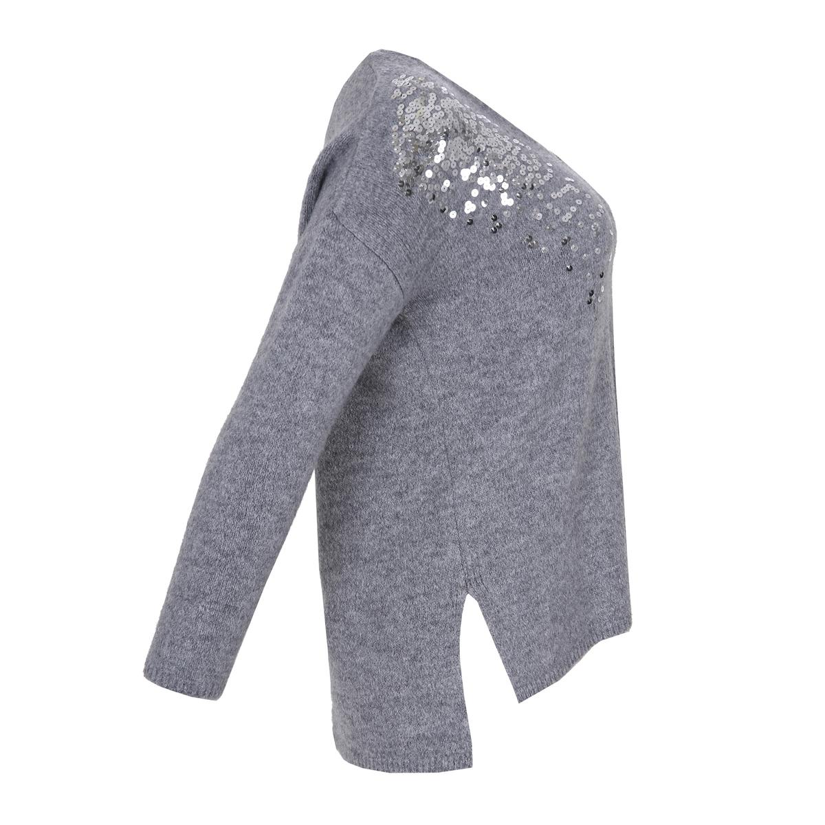 Пуловер с V-образным вырезом, пайетками и длинными рукавами бархатный мир хороший цвет с длинными рукавами v образным вырезом свитер тонкий свитер r1113 белый m