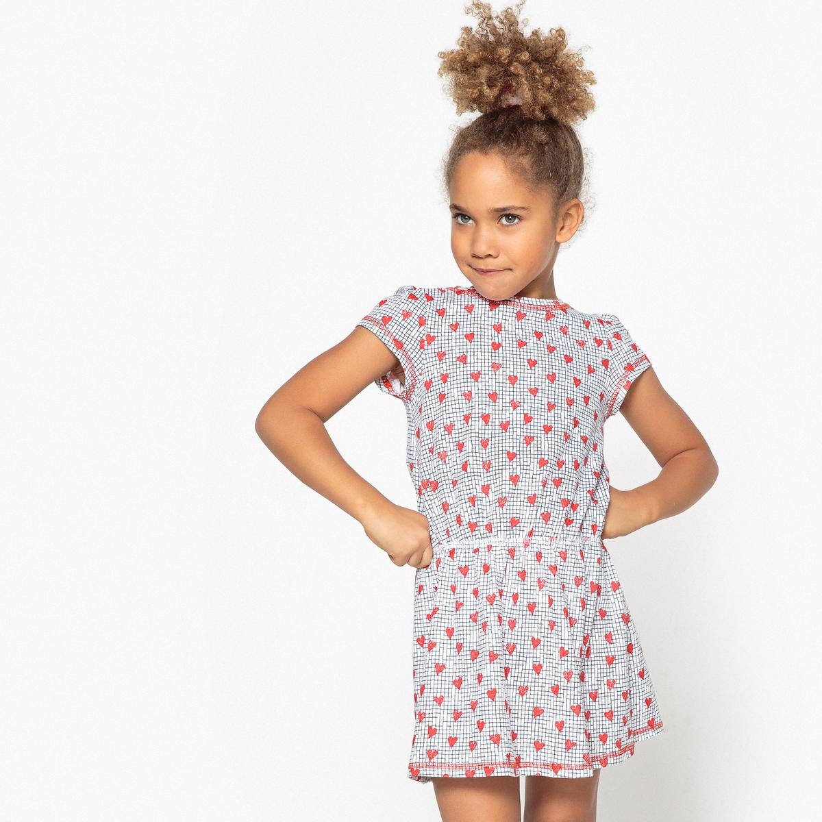 Платье с принтом сердце 3-12 лет