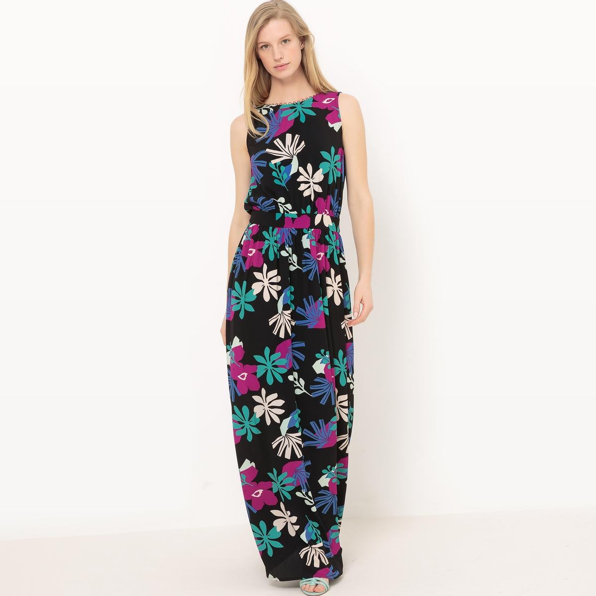 Платье длинное без рукавов с рисунком