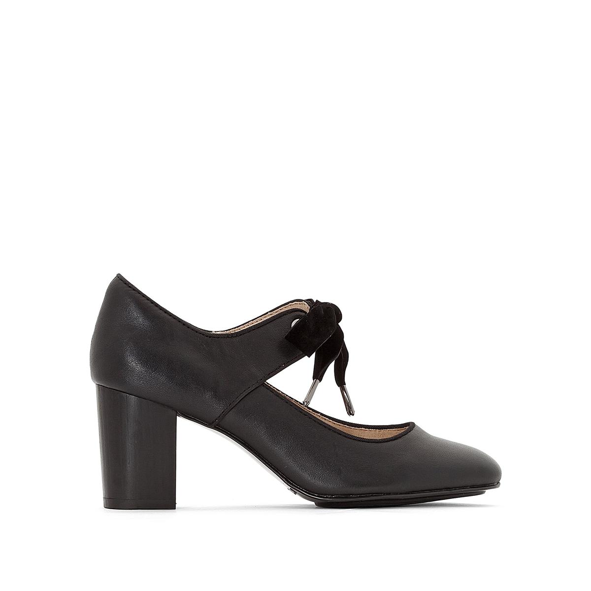 Туфли кожаные на каблуке Margot LangdonПодкладка : ТекстильСтелька: Кожа   Подошва: КаучукВысота каблука: 8 смФорма каблука : ШирокийНосок : ЗакругленныйЗастежка: Шнуровка<br><br>Цвет: черный<br>Размер: 40