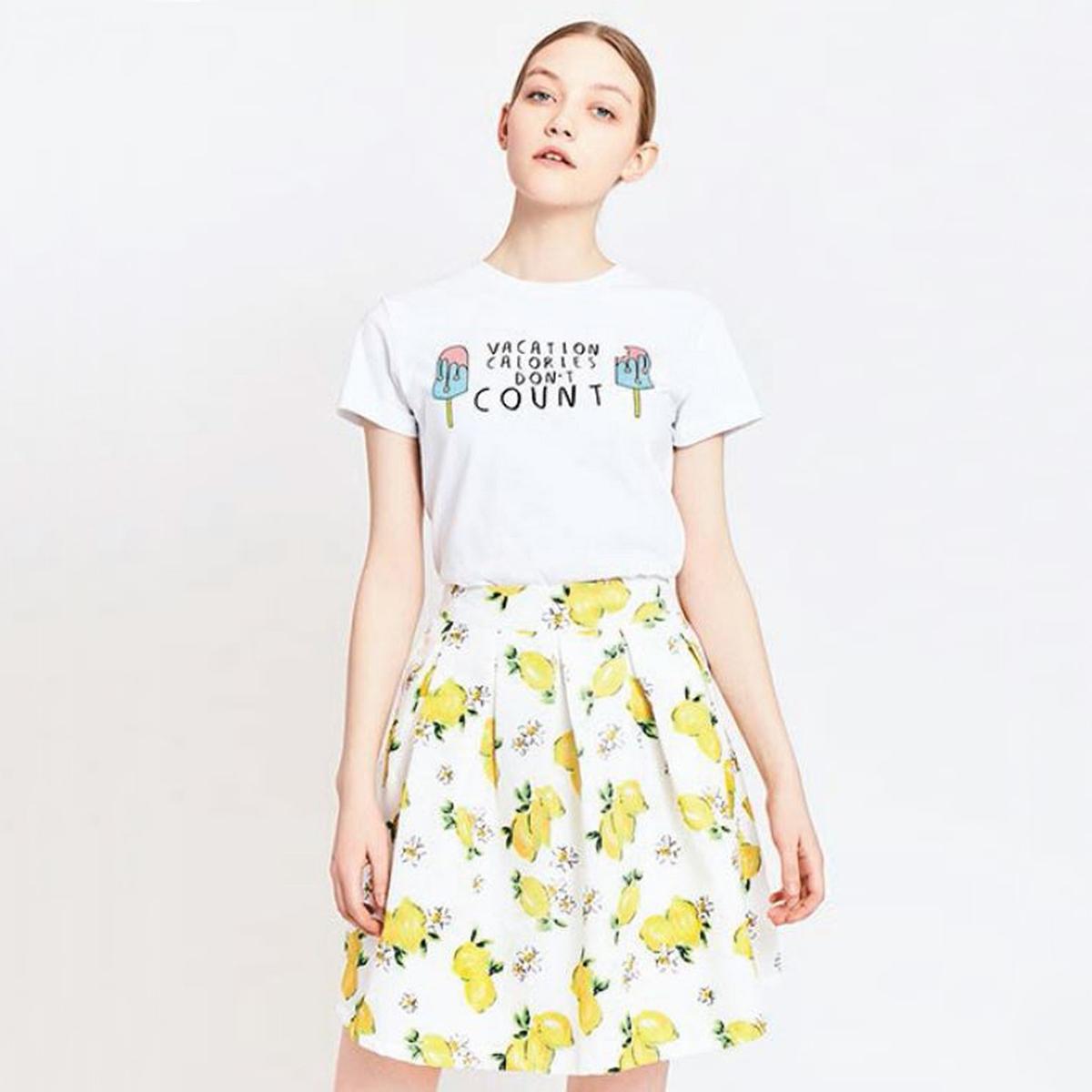 Юбка с рисунком лимонМатериал : 100% полиэстер  Рисунок : принт Длина юбки : короткая<br><br>Цвет: рисунок/желтый<br>Размер: M