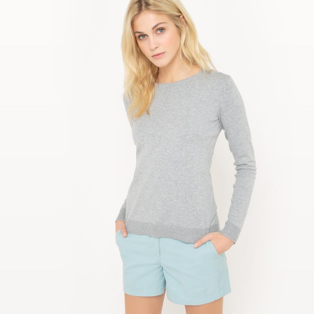 Пуловер с круглым вырезом из хлопка