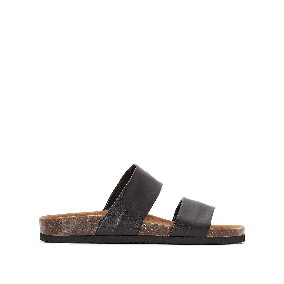 Туфли-сабо без задника с двойным ремешком кожаные, Angy