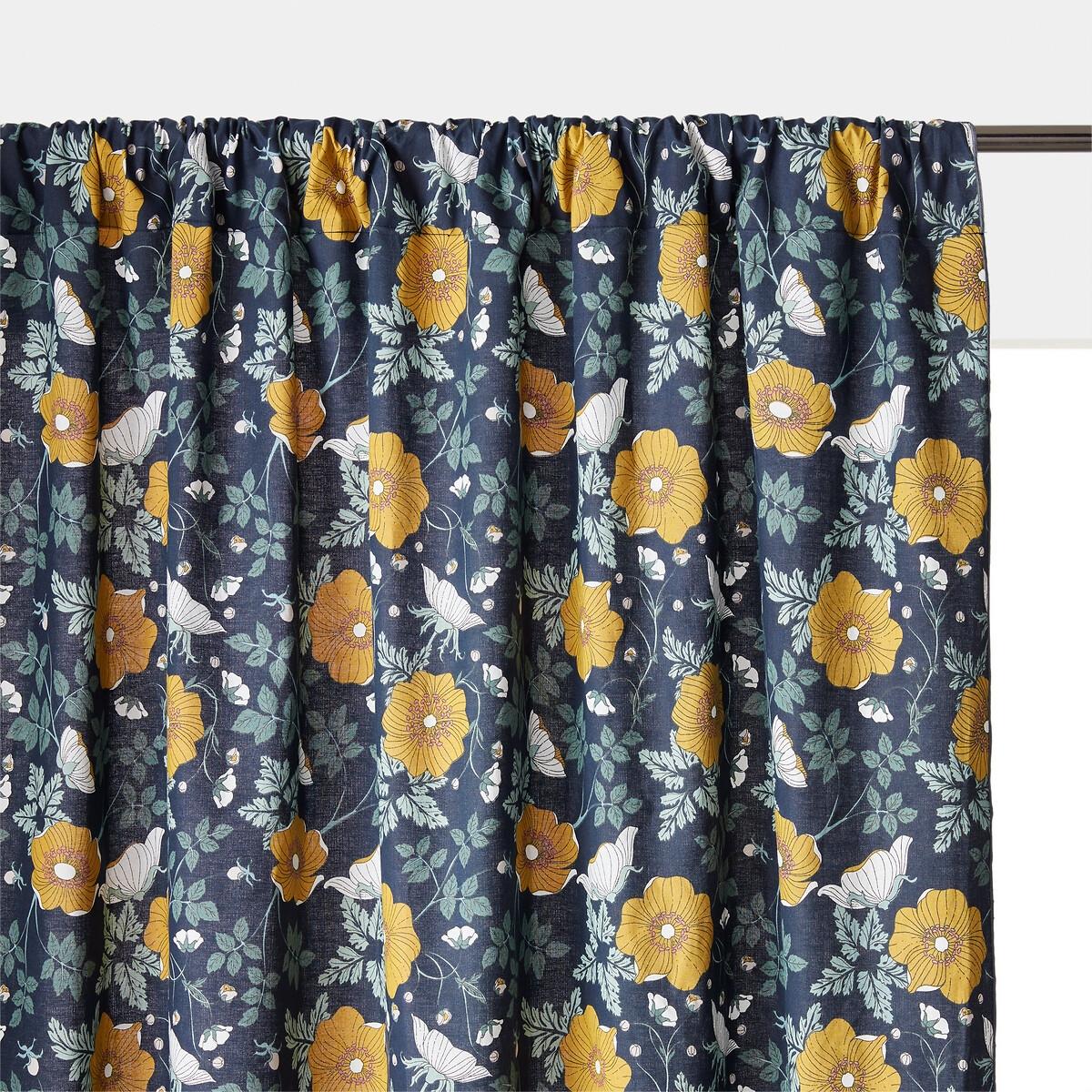 Штора LaRedoute Со скрытыми подвесками из 100 осветленного хлопка Marthe 180 x 135 см синий