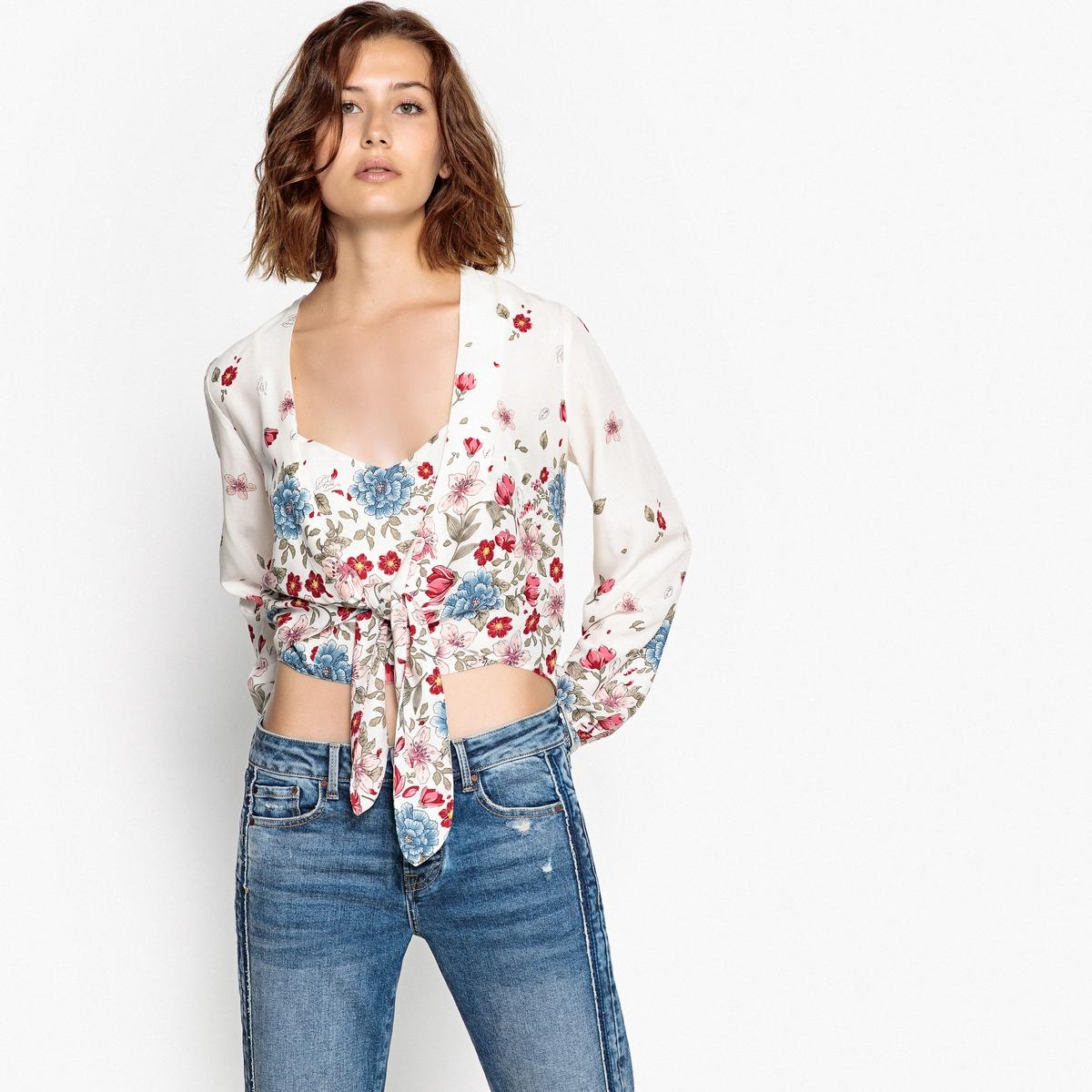 Imagen principal de producto de Blusa con cuello de pico anudada en el bajo, estam - Pepe Jeans