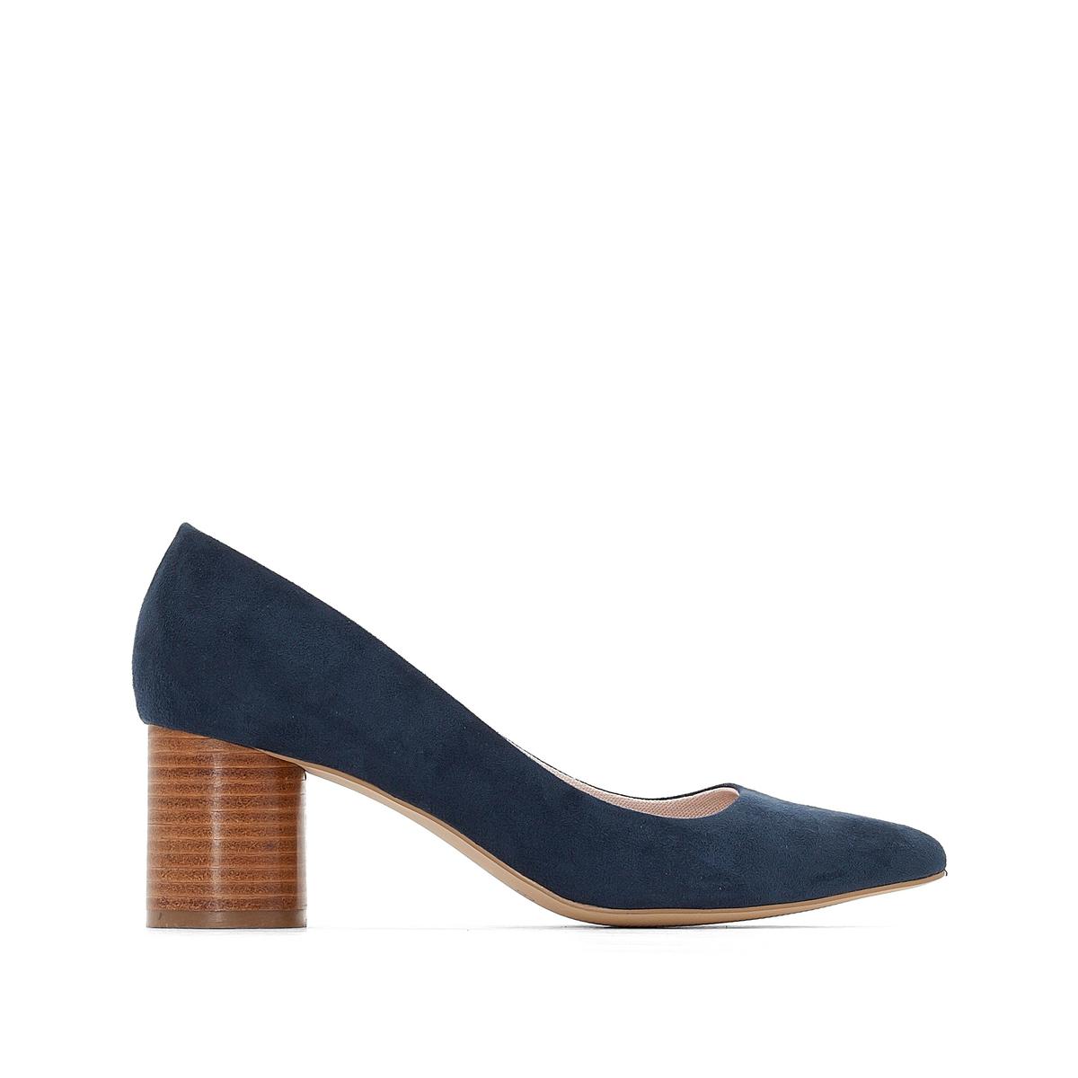 Туфли с круглым каблукомДетали   •  Широкий каблук •  Высота каблука : 5,5 см •  Застежка : ремешок/пряжка •  Круглый мысок •  Гладкая отделкаСостав и уход   •  Верх 100% полиэстер •  Подкладка 100% полиэстер •  Стелька 100% кожа<br><br>Цвет: синий,черный