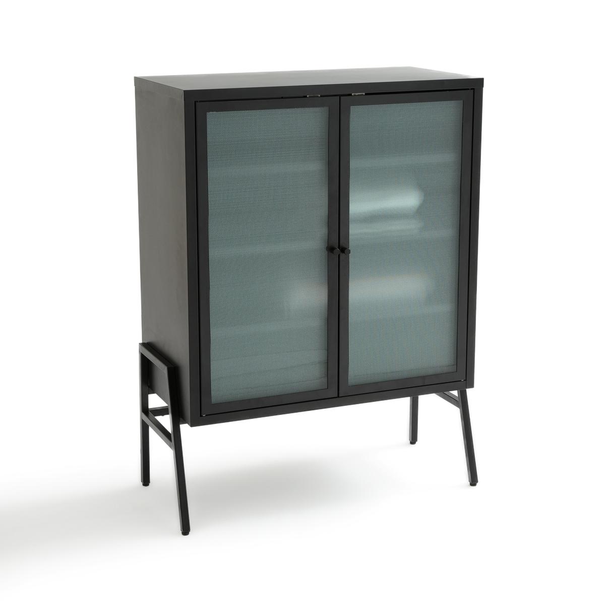 Шкаф низкий с 2 дверцами из металла и стекла PODA