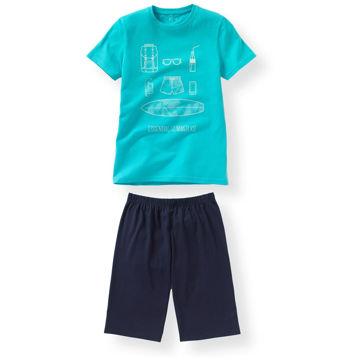 Пижама с шортами летняя, 10-16 летПижама: футболка с короткими рукавами и шорты. Футболка с рисунком пляж спереди. Однотонные шорты с эластичным поясом. Состав и описание : Материал       джерси, 100% хлопокМарка       R ?ditionУход :Машинная стирка при 30 °C с вещами схожих цветов.Стирать и гладить с изнаночной стороны.Машинная сушка в умеренном режиме.Гладить при низкой температуре.<br><br>Цвет: синий/ темно-синий