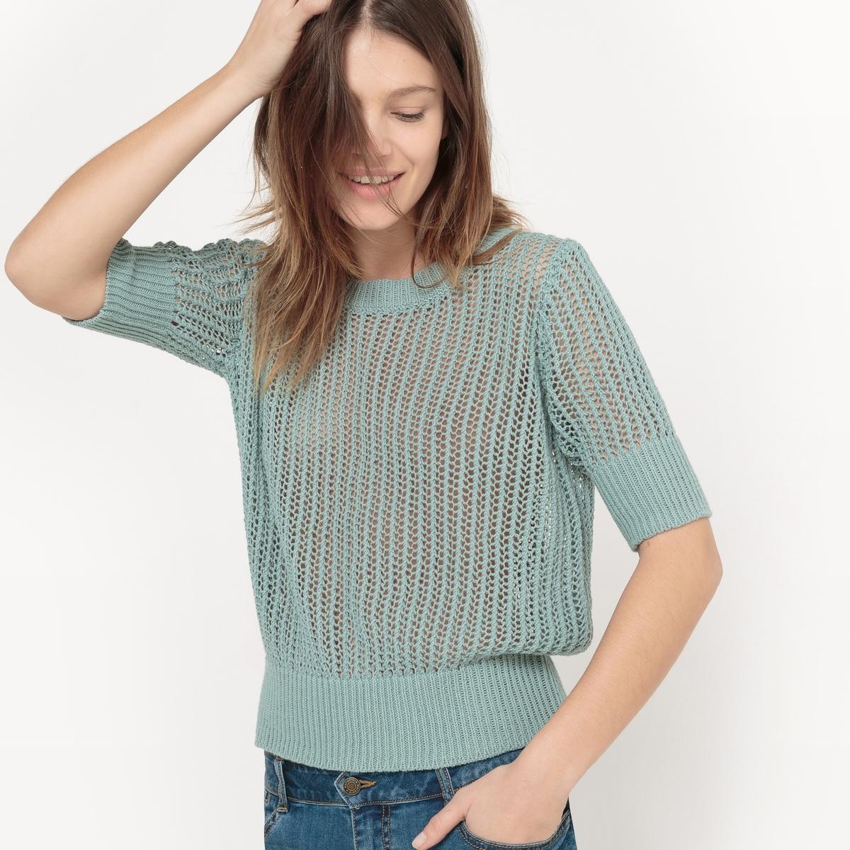Пуловер из ажурного трикотажа с круглым вырезомМатериал :69% хлопок, 18% шелк, 13% лен   Длина рукава : рукава 3/4      Форма воротника : круглый вырез      Покрой пуловера : стандартный      Рисунок : однотонная модель        Стирка : машинная стирка при 30 °С на деликатном режиме      Уход : сухая чистка и отбеливание запрещены      Машинная сушка : машинная сушка запрещена      Глажка : при низкой температуре<br><br>Цвет: серо-синий<br>Размер: S.L
