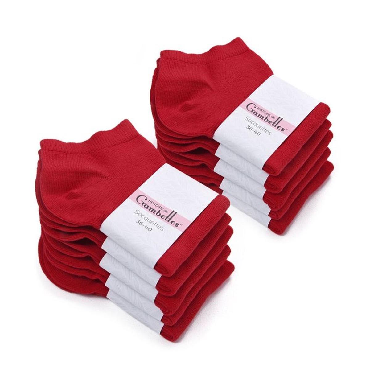 Socquettes Femme coton Rouge Vermillon (Lot de 10)
